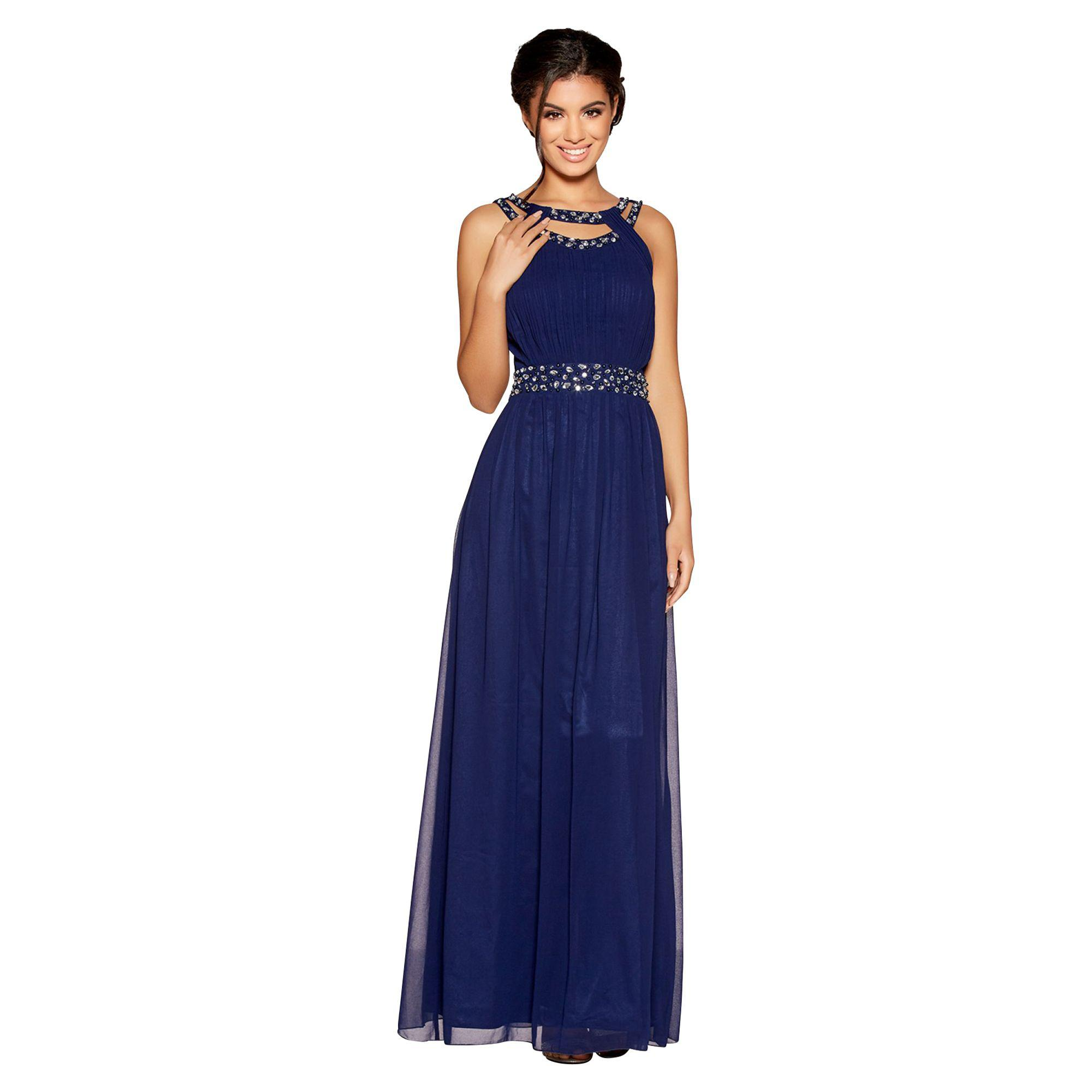 1f1c3f6029 Quiz Navy Chiffon Round Neck Embellished Maxi Dress in Blue - Lyst