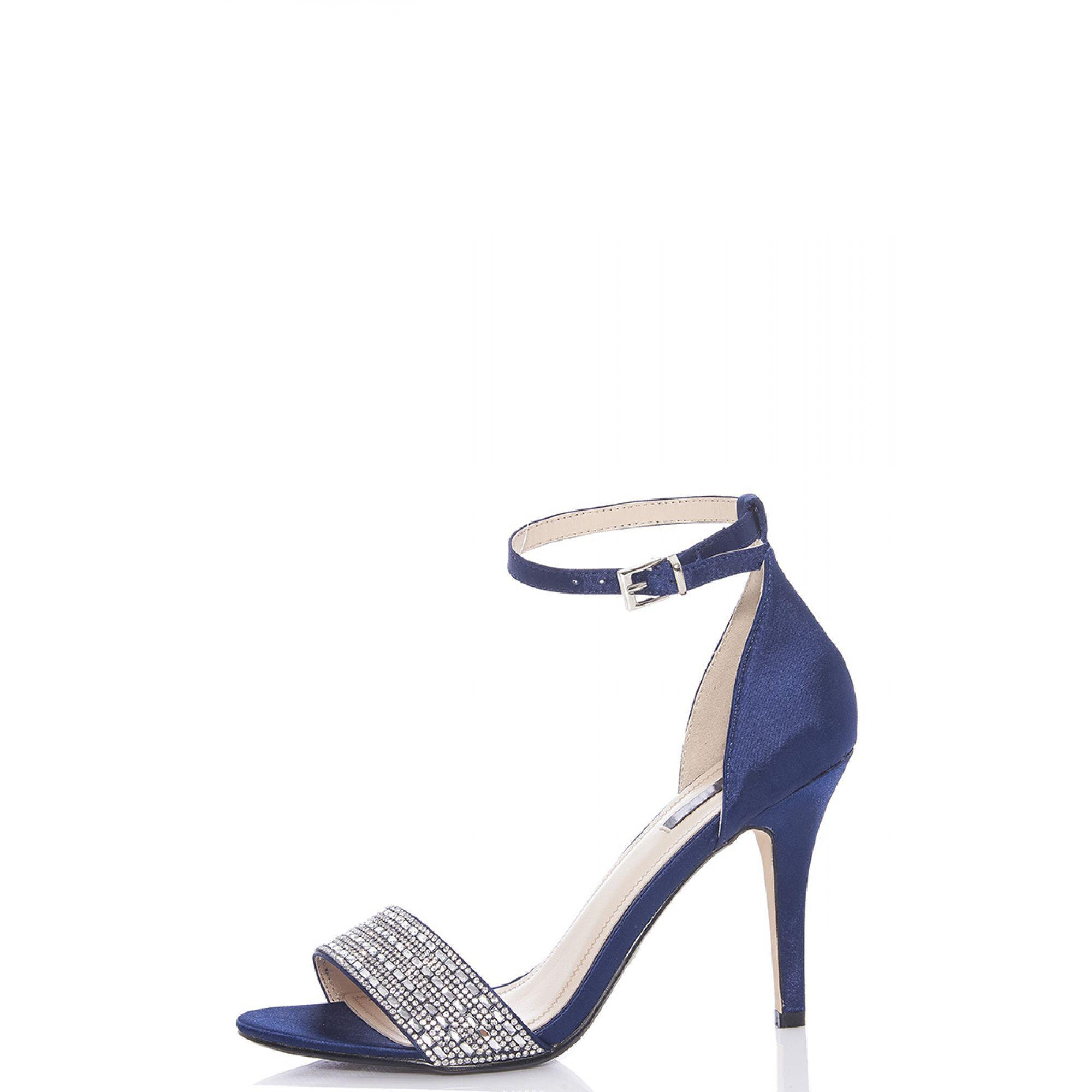 63d30eb94bf6 Quiz Navy Blue Satin Diamante Strap Heel Sandals in Blue - Lyst