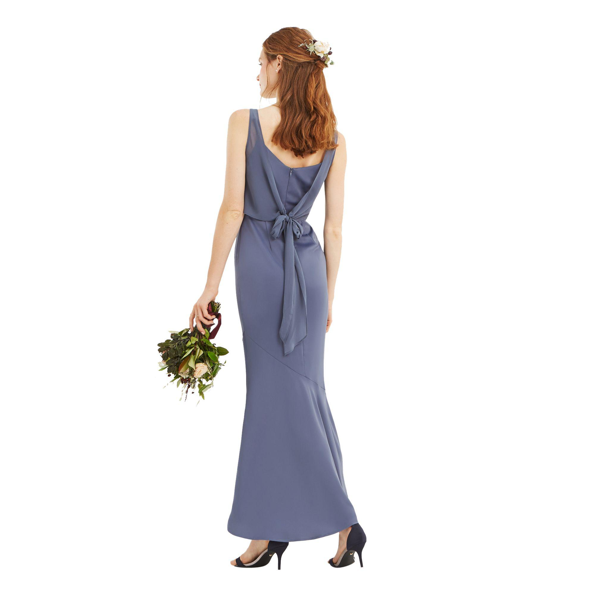 3903566901 Oasis Mid Grey 'emily' Slinky Bow Back Maxi Dress in Gray - Save 20 ...