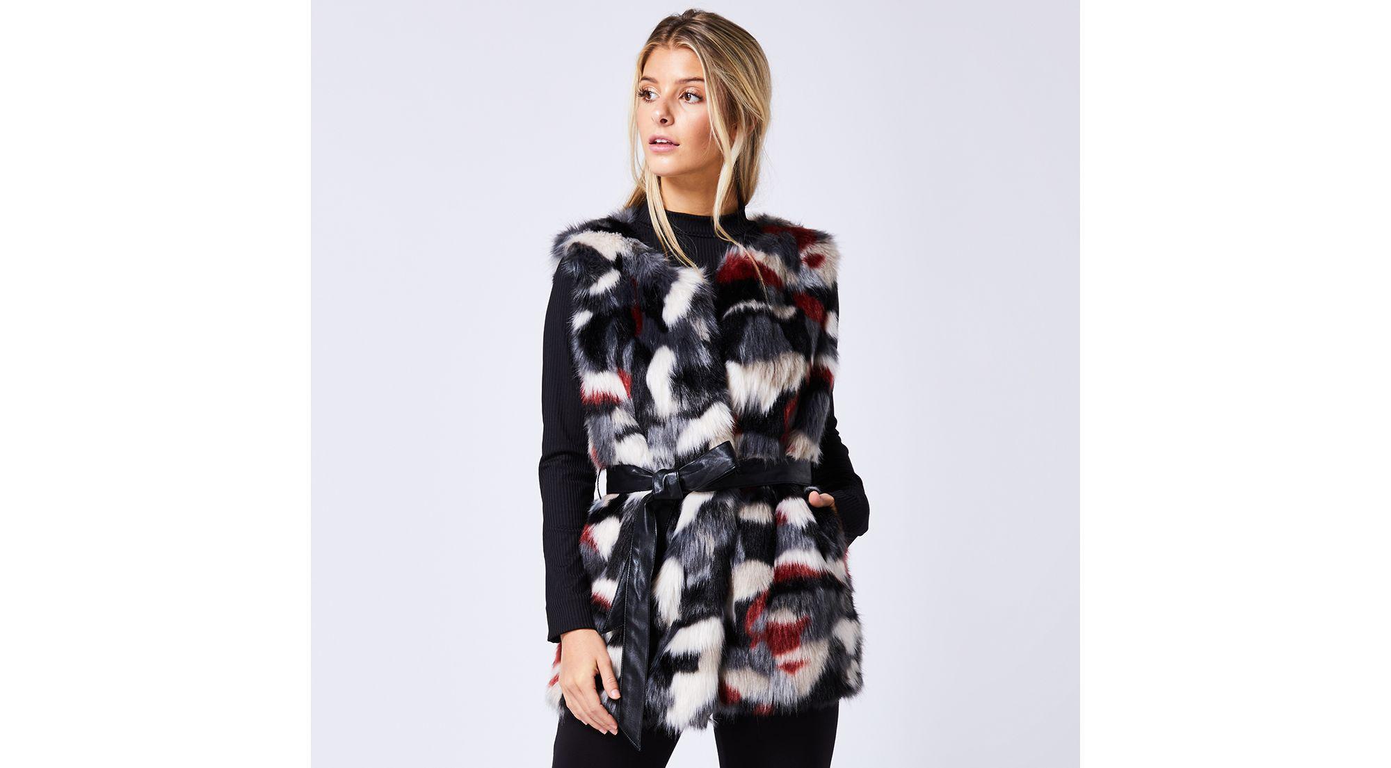 Angeleye Multicoloured Sleeveless Faux Fur Gilet in Black - Lyst a98f983c9e8