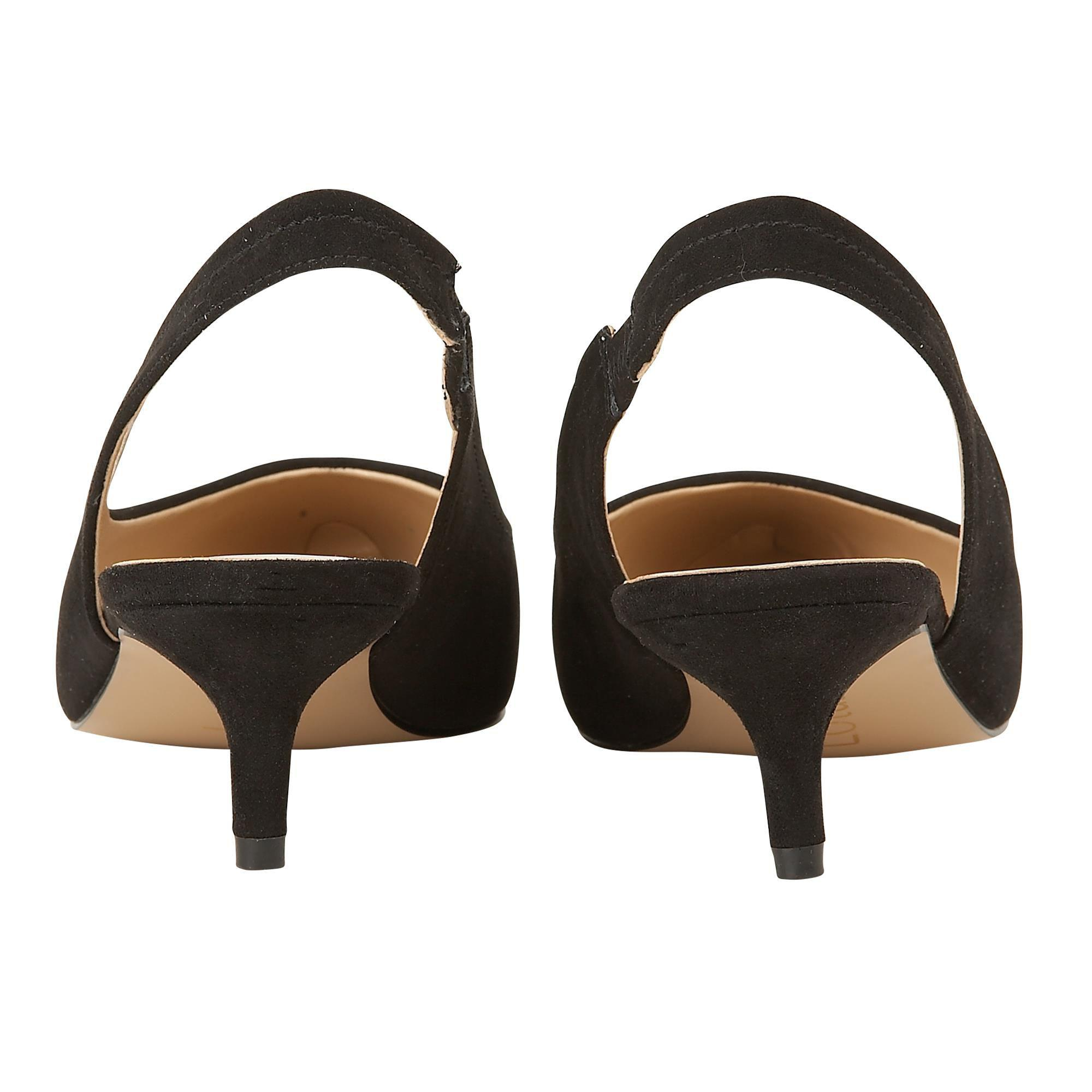 7fb029c1dac Lotus Black Suedette  misty  Mid Kitten Heel Slingbacks in Black - Lyst