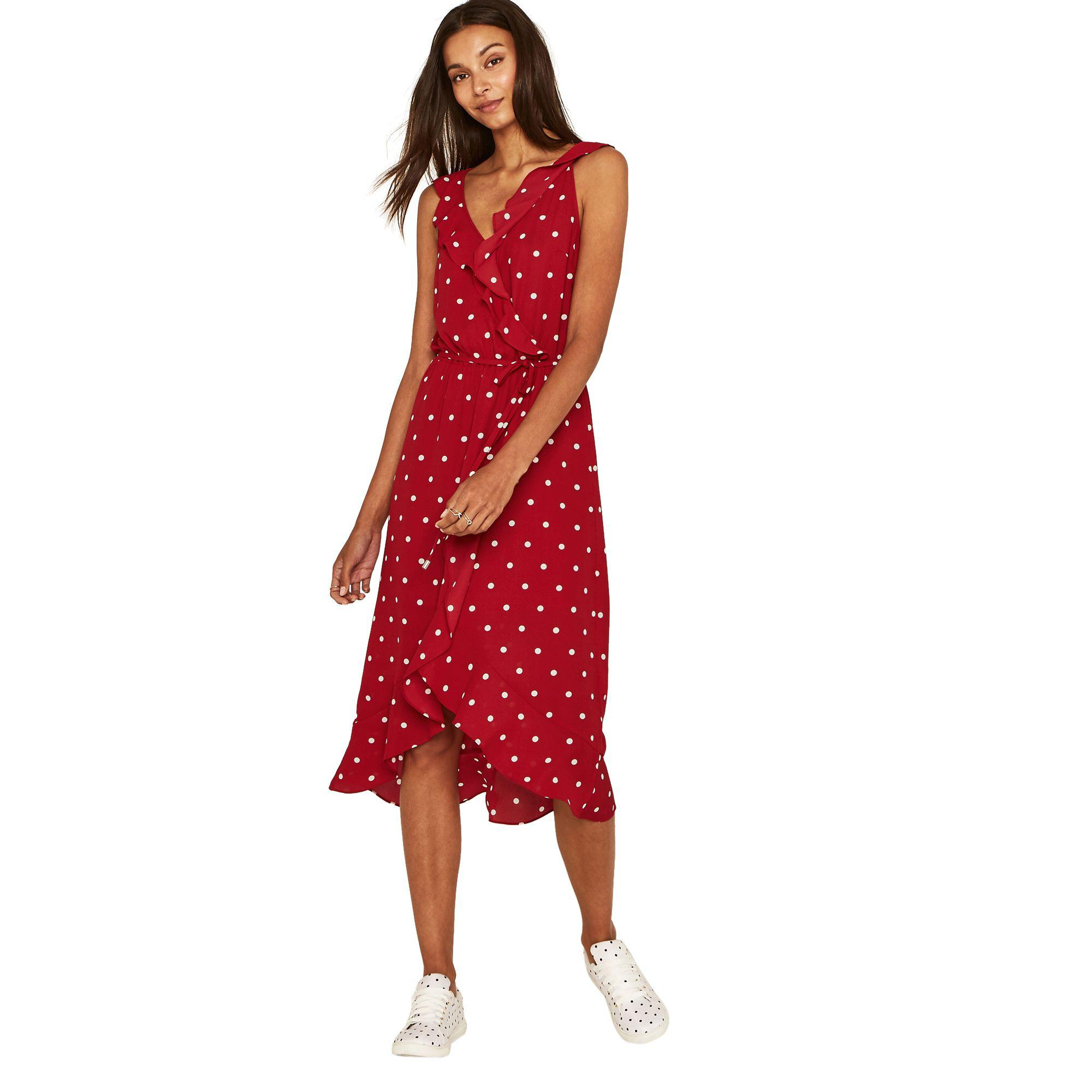 8a7e6542db02 Oasis Multi Red Spot Wrap Midi Dress in Red - Save 61% - Lyst