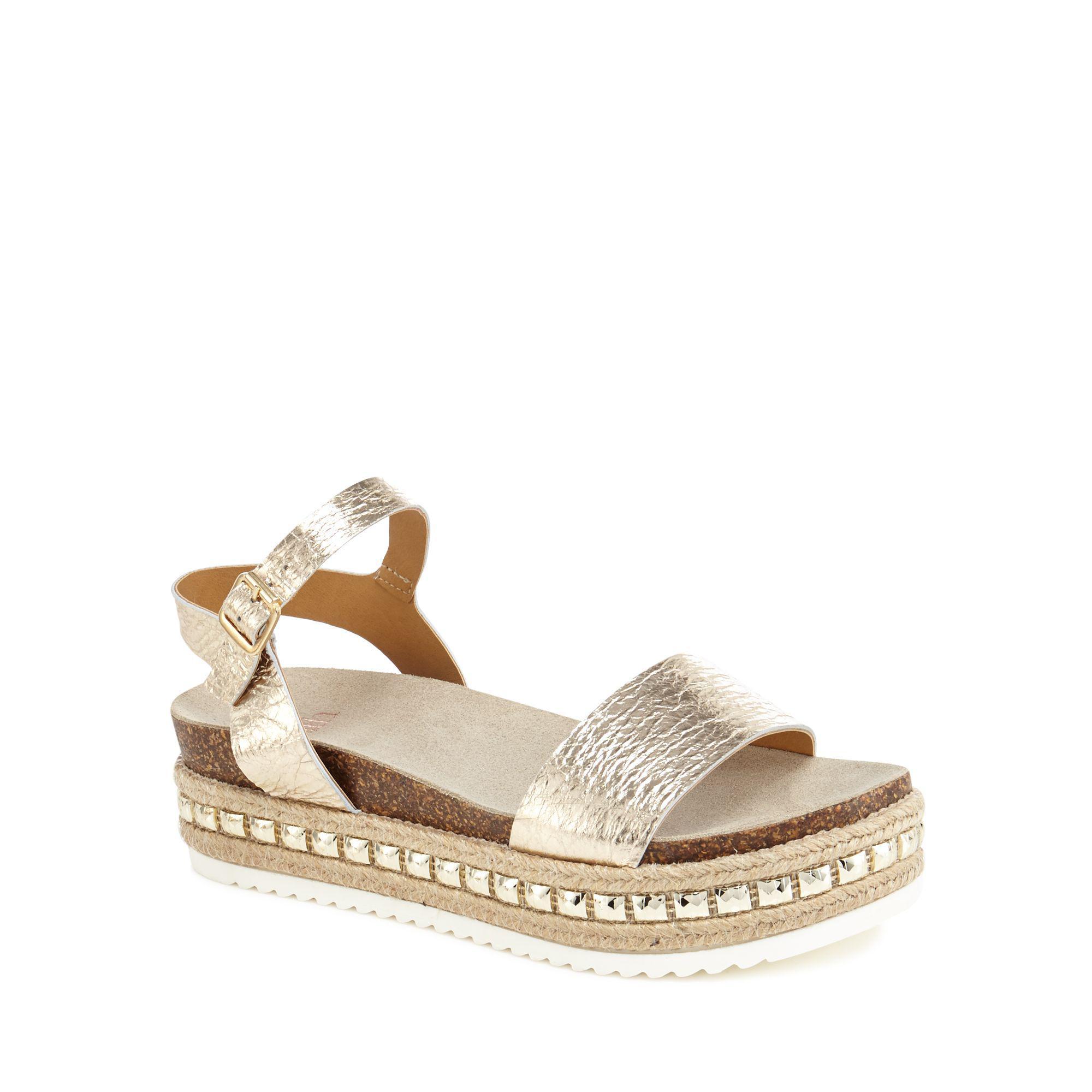 6bf29c0fd28 Faith - Metallic Gold Leather  jossy  Mid Flatform Heel Ankle Strap Sandals  - Lyst. View fullscreen