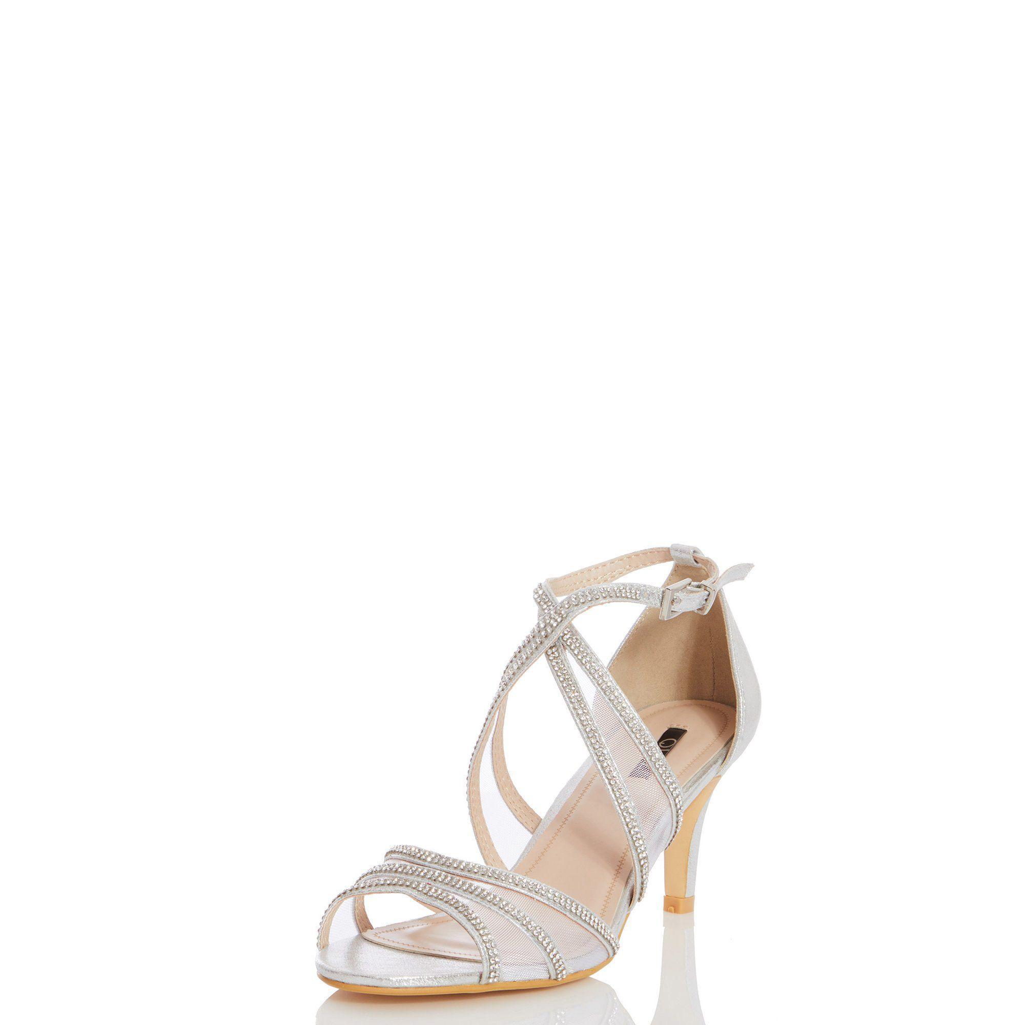 633f214135f Quiz - Metallic Silver Shimmer Diamante Low Heel Sandals - Lyst. View  fullscreen