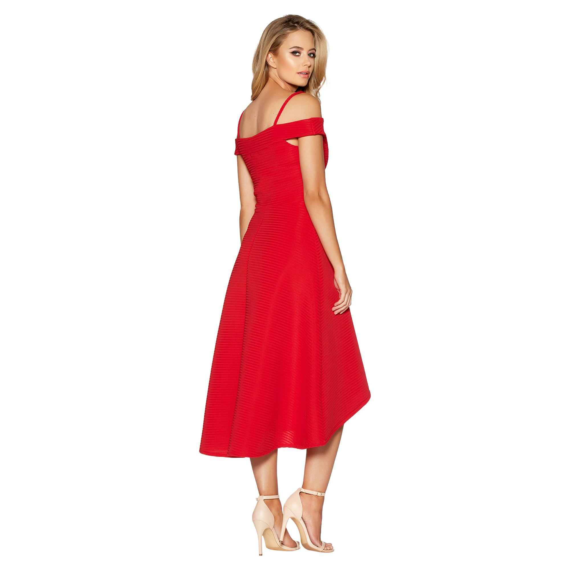 e29caad618 Quiz - Red Sweetheart Neck Strappy Bardot Dress - Lyst. View fullscreen
