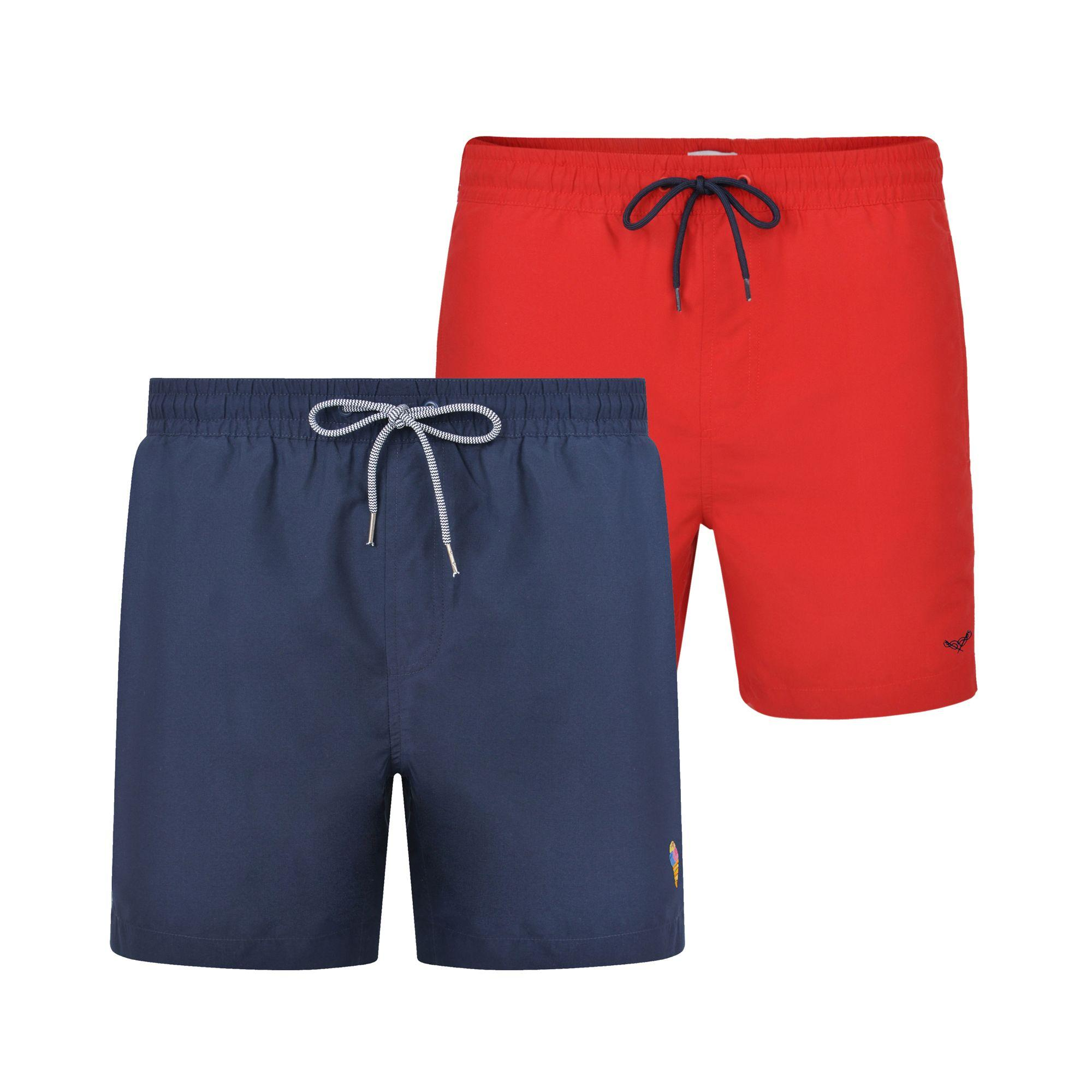 0e888c153b Threadbare 2 Pack Red And Navy 'barwhit' Swim Shorts in Blue for Men ...