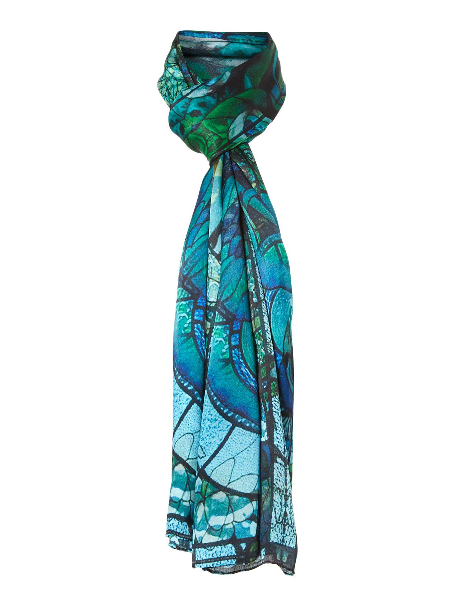 biba peacock nouveau silk satin scarf in green lyst
