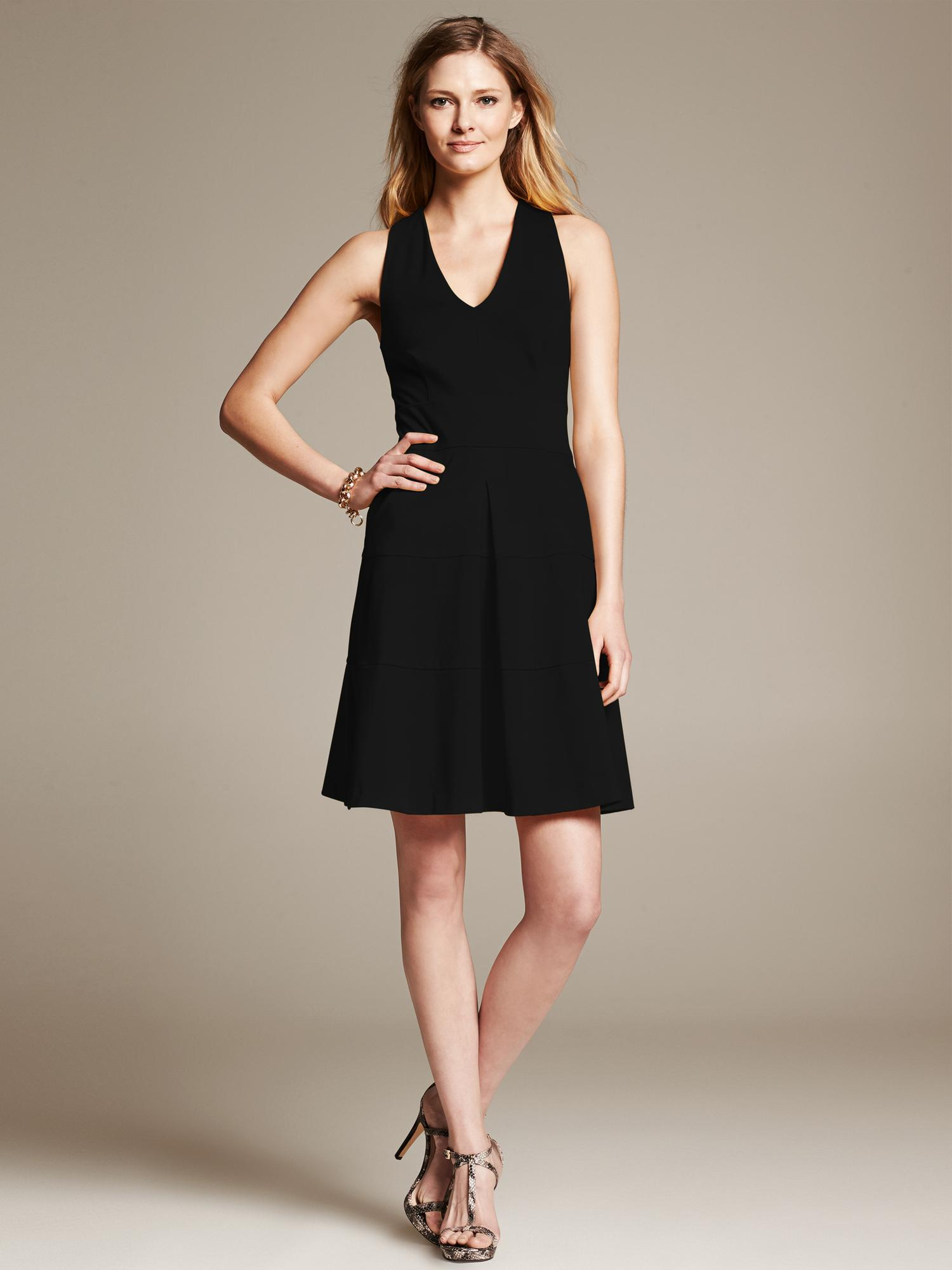 Banana Republic Ponte Cross Back Fit And Flare Dress In