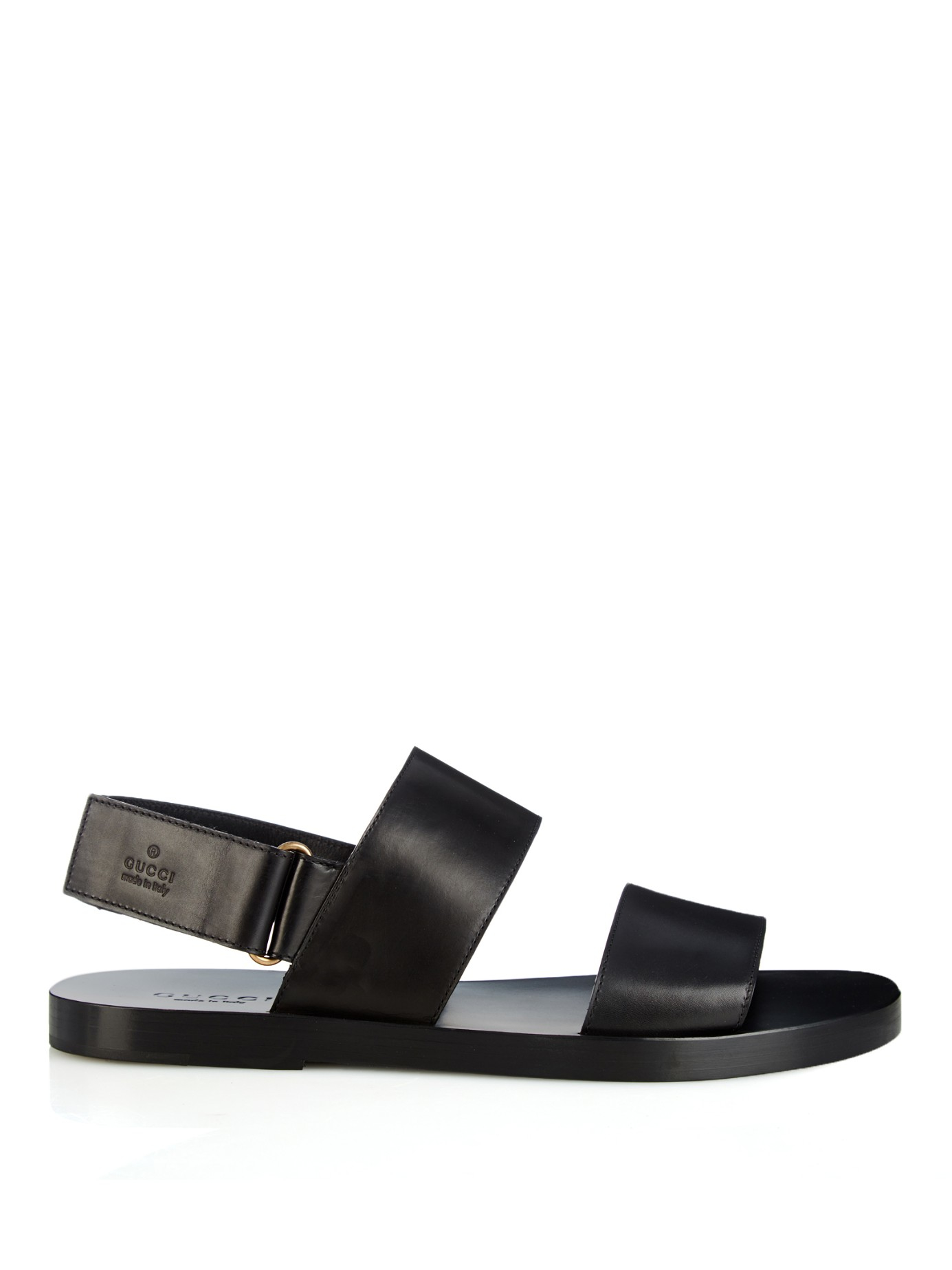 Lyst Gucci Double Strap Leather Sandals In Black For Men