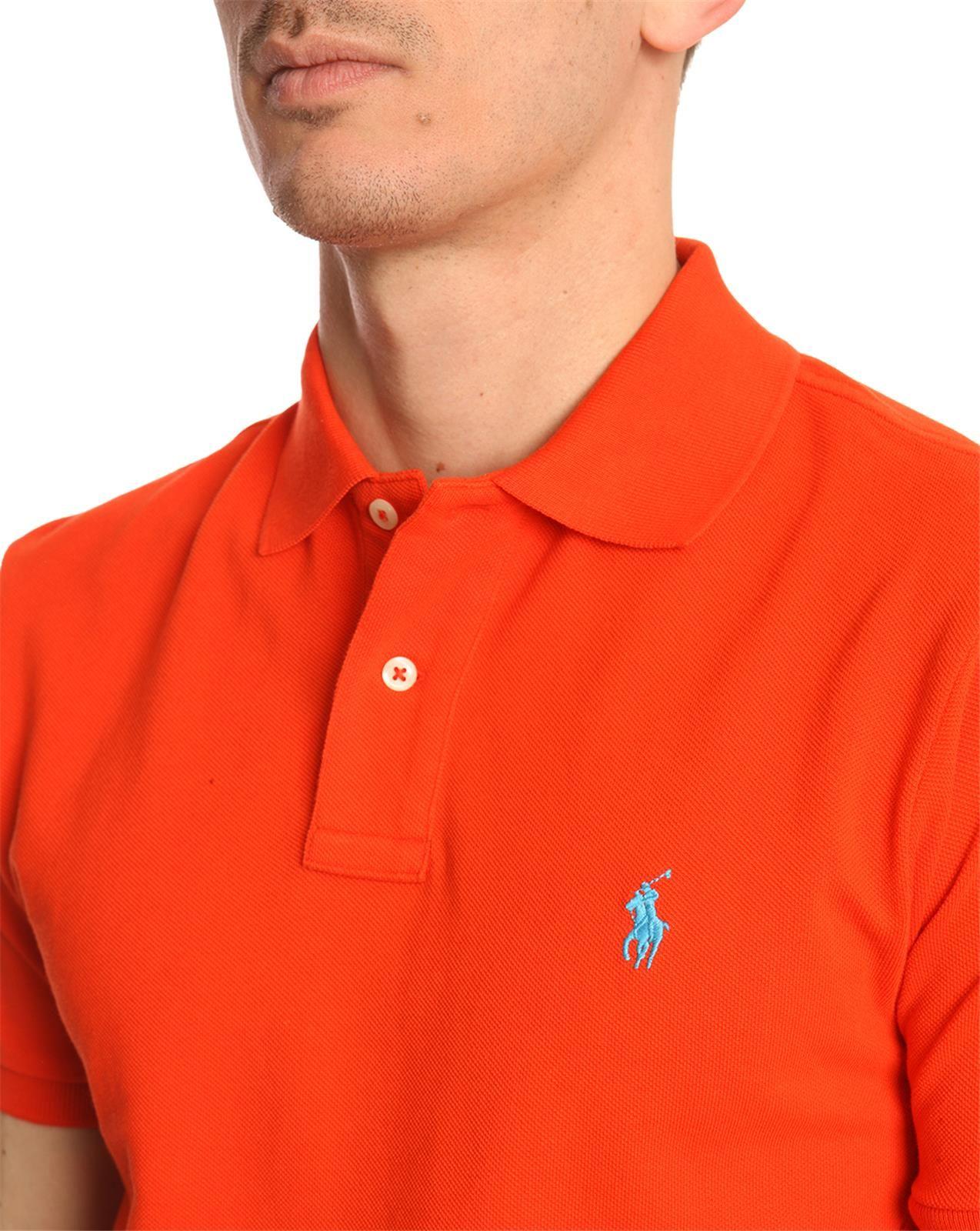 12f0eac2 ... good polo ralph lauren bright orange slimfit polo shirt in orange for men  lyst 3b19d 97285