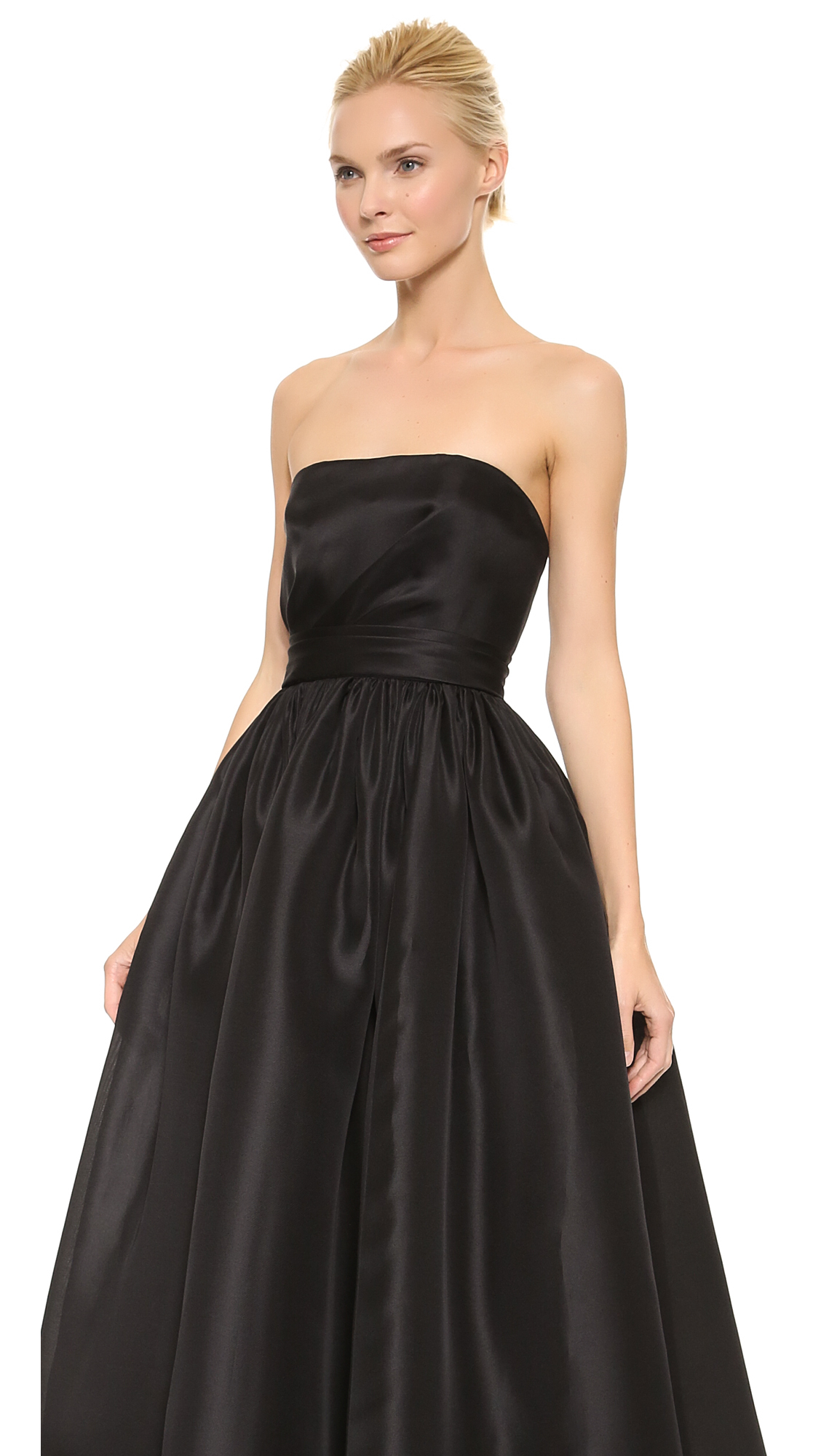Lyst - Reem Acra Draped Bodice Ball Gown Black in Black