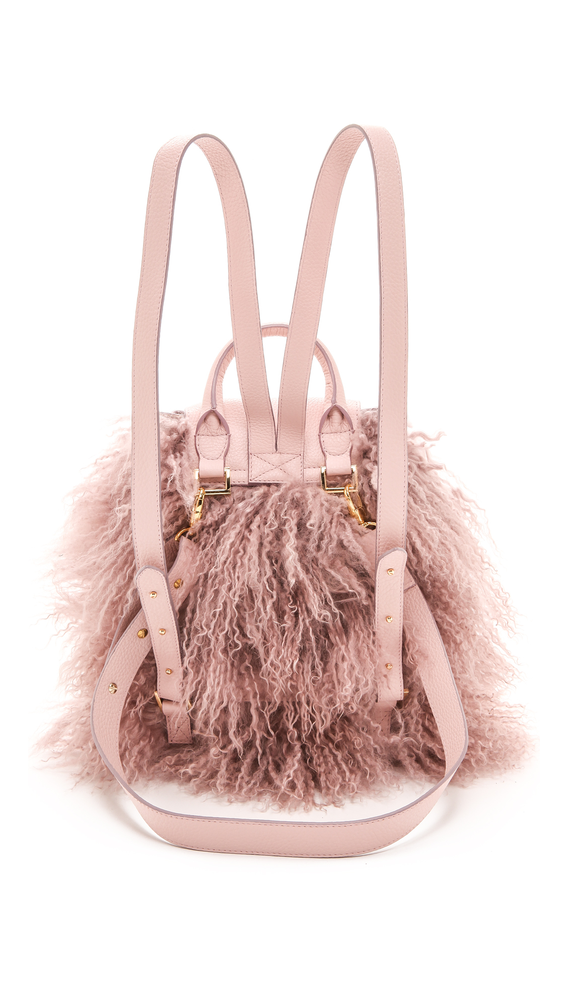 Meli melo Mini Backpack with Lux Shearling Dusty Pink in Pink | Lyst