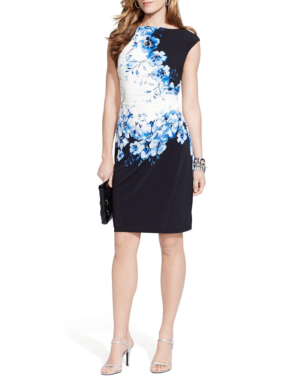 529a107d6141 Ralph Lauren Lauren Dress - Cap Sleeve Floral Print Jersey in Blue ...