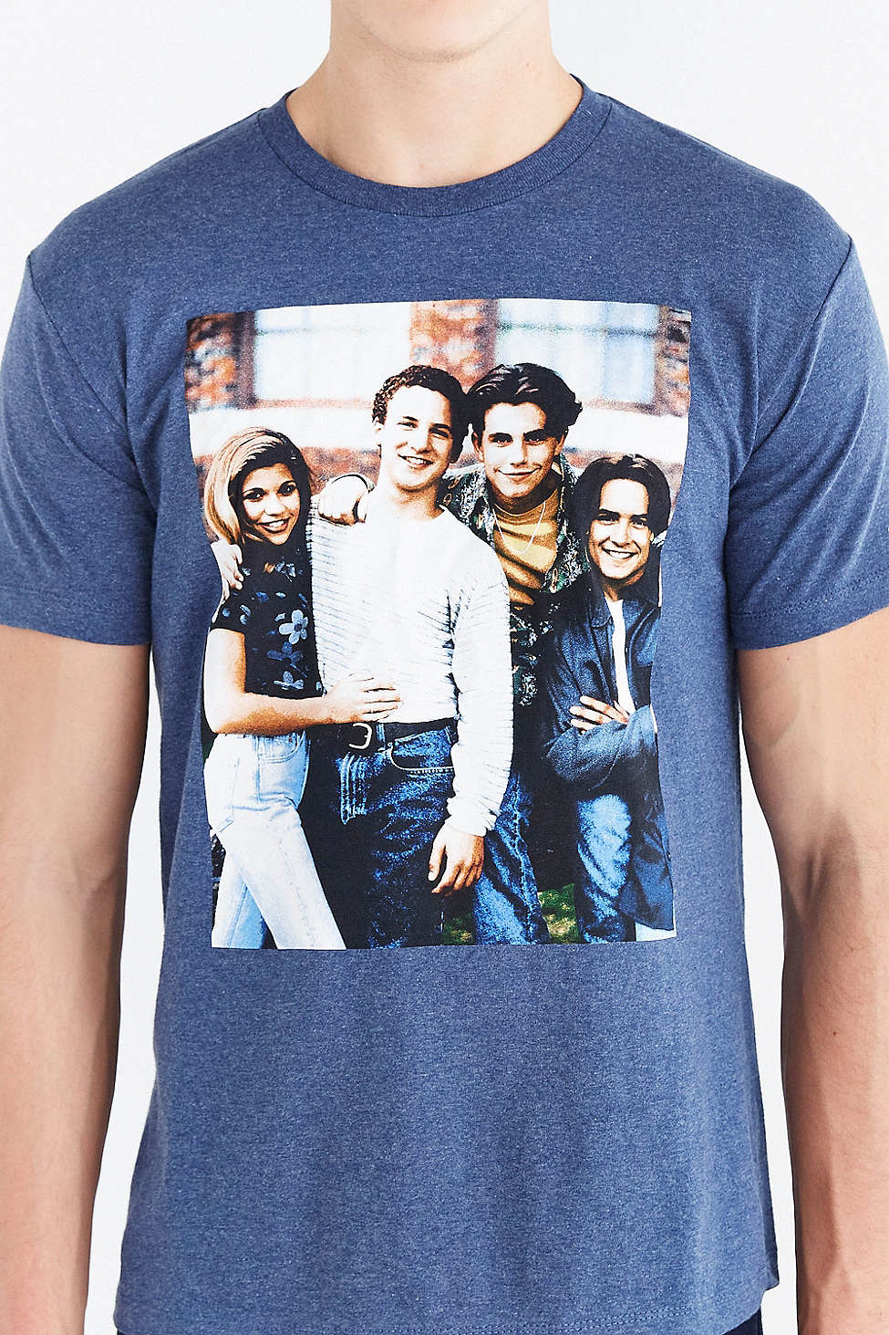 Urban outfitters boy meets world group tee in blue for men for Best dress shirts in the world