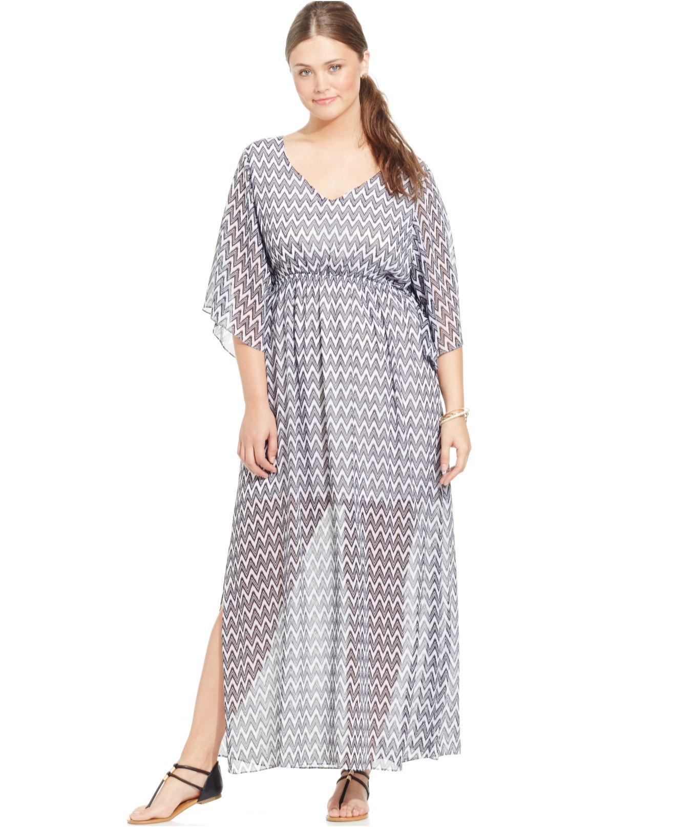 Soprano Plus Size Sheer-hem Maxi Dress in Gray - Lyst