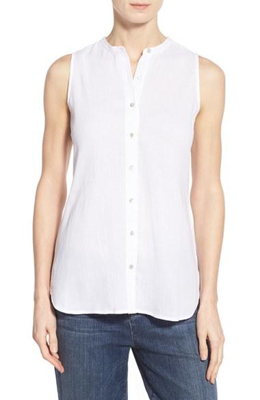 Lyst eileen fisher organic cotton sleeveless mandarin for Sleeveless white shirt with collar