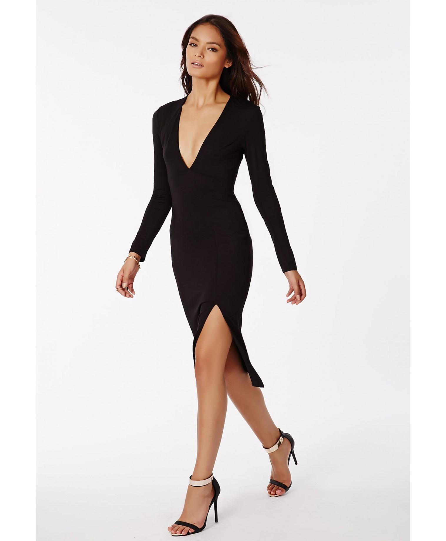 Missguided Chelsi Jersey Side Split Midi Dress Black In
