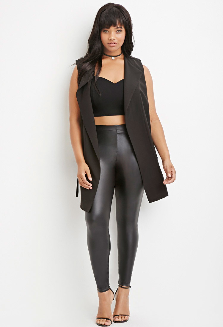 Images of Plus Size Faux Leather Leggings - Reikian