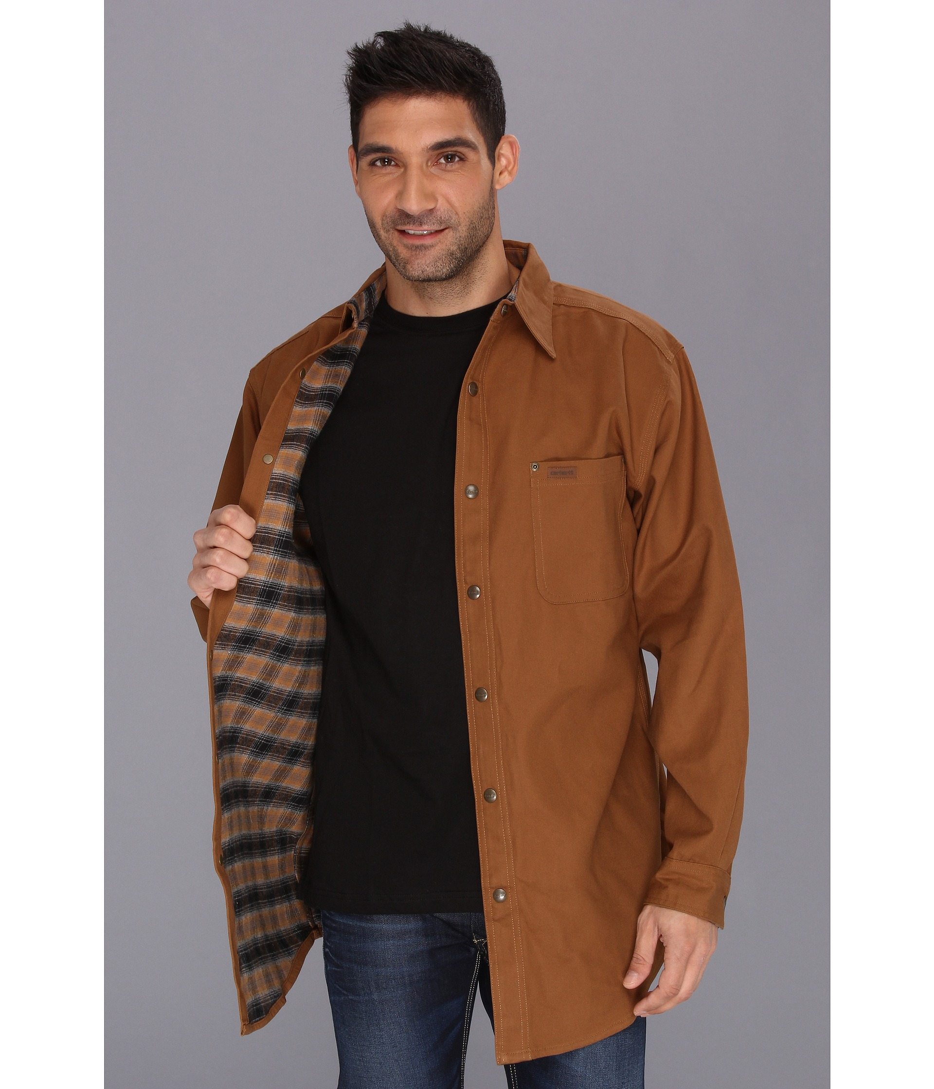 Carhartt Classic Canvas Shirt Jacket Tall In Brown For Men