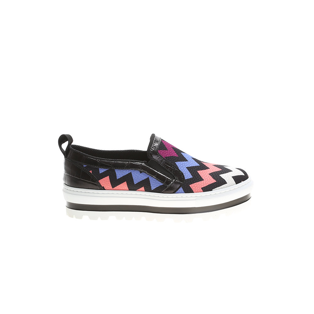 msgm multicoloured geometric patterned canvas sneakers in