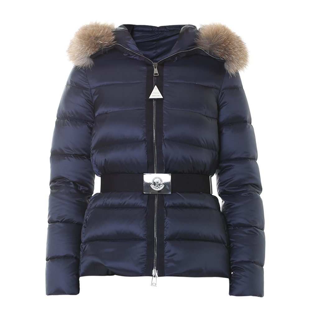 Lyst Moncler Tatie Fur Trimmed Quilted Down Jacket In Blue