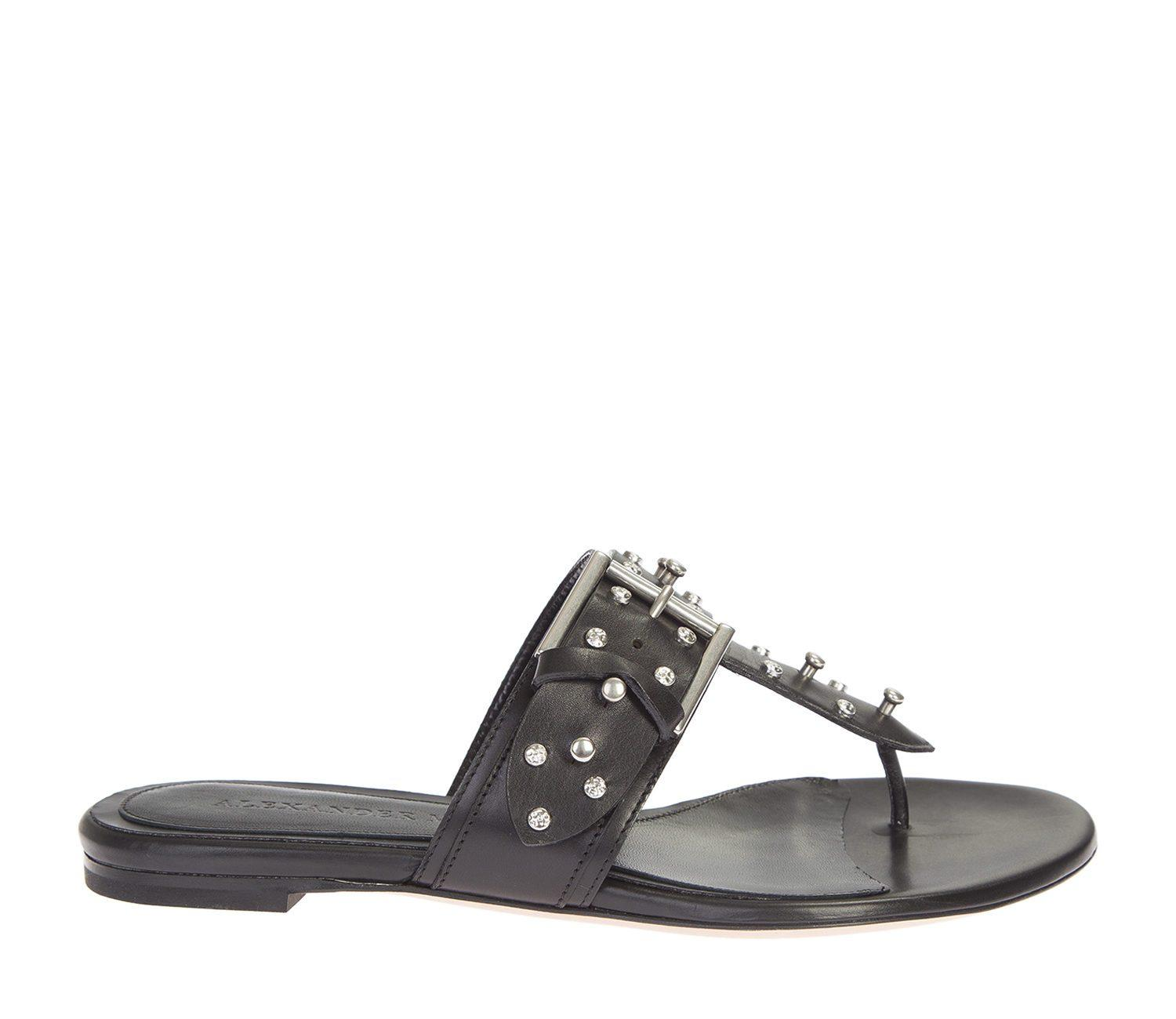 Lyst Alexander Mcqueen Black Leather Hobnail Sandals In