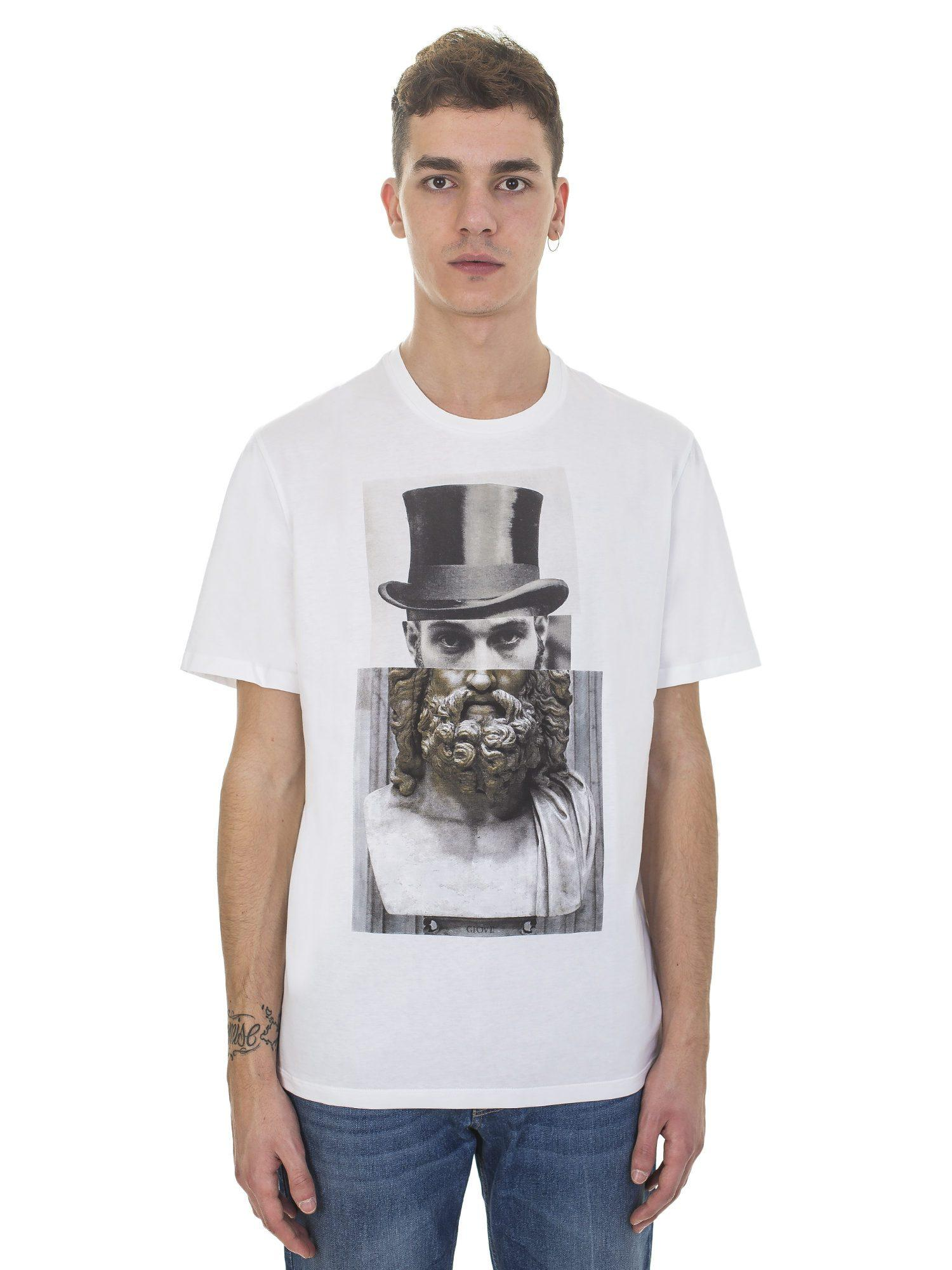 Neil Barrett Giove With Hat Printed White Cotton T Shirt