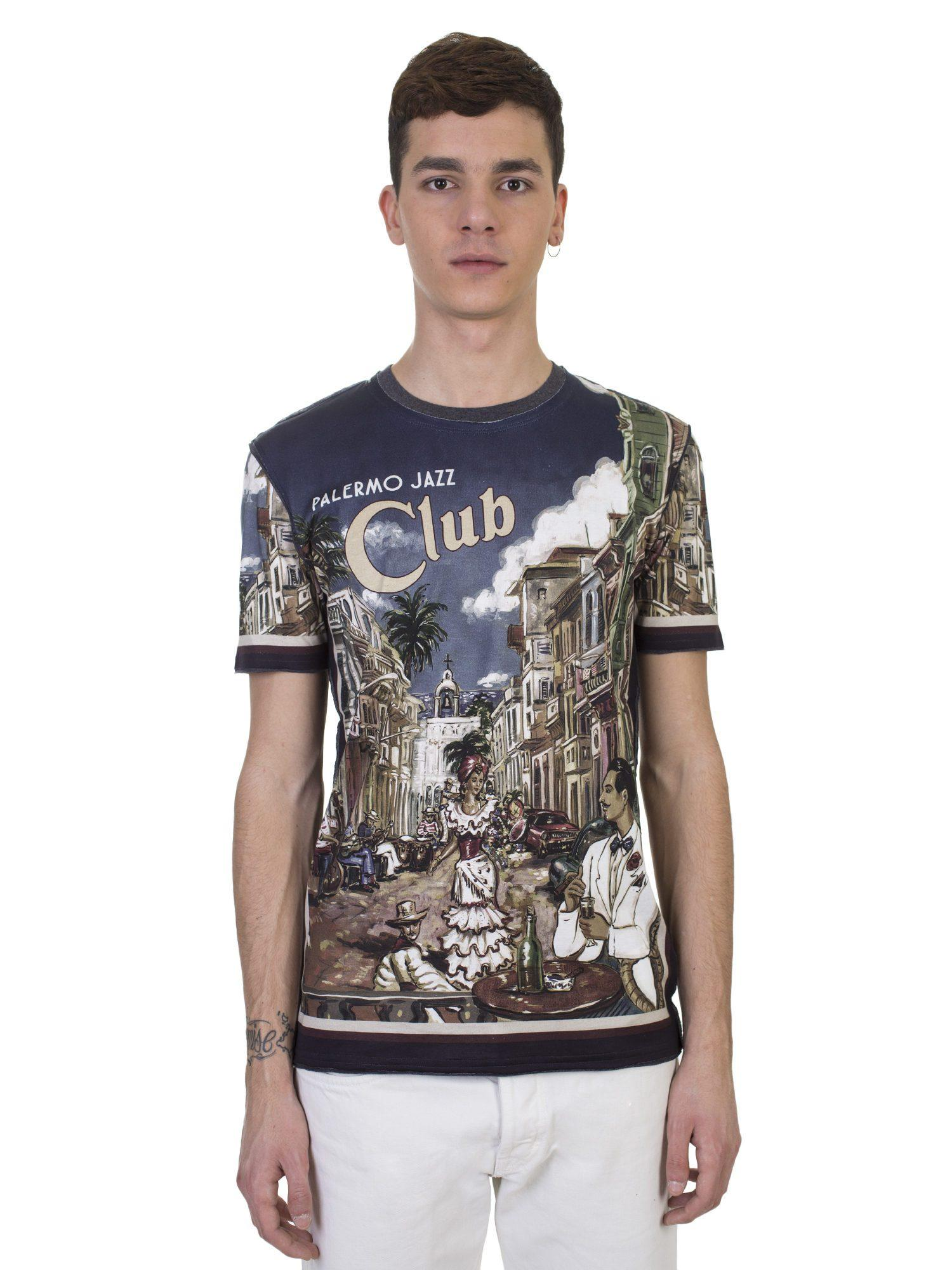 Jazz Palermo Print Cotton T Dolceamp; Shirt Blue In Club Gabbana rxWeodCB