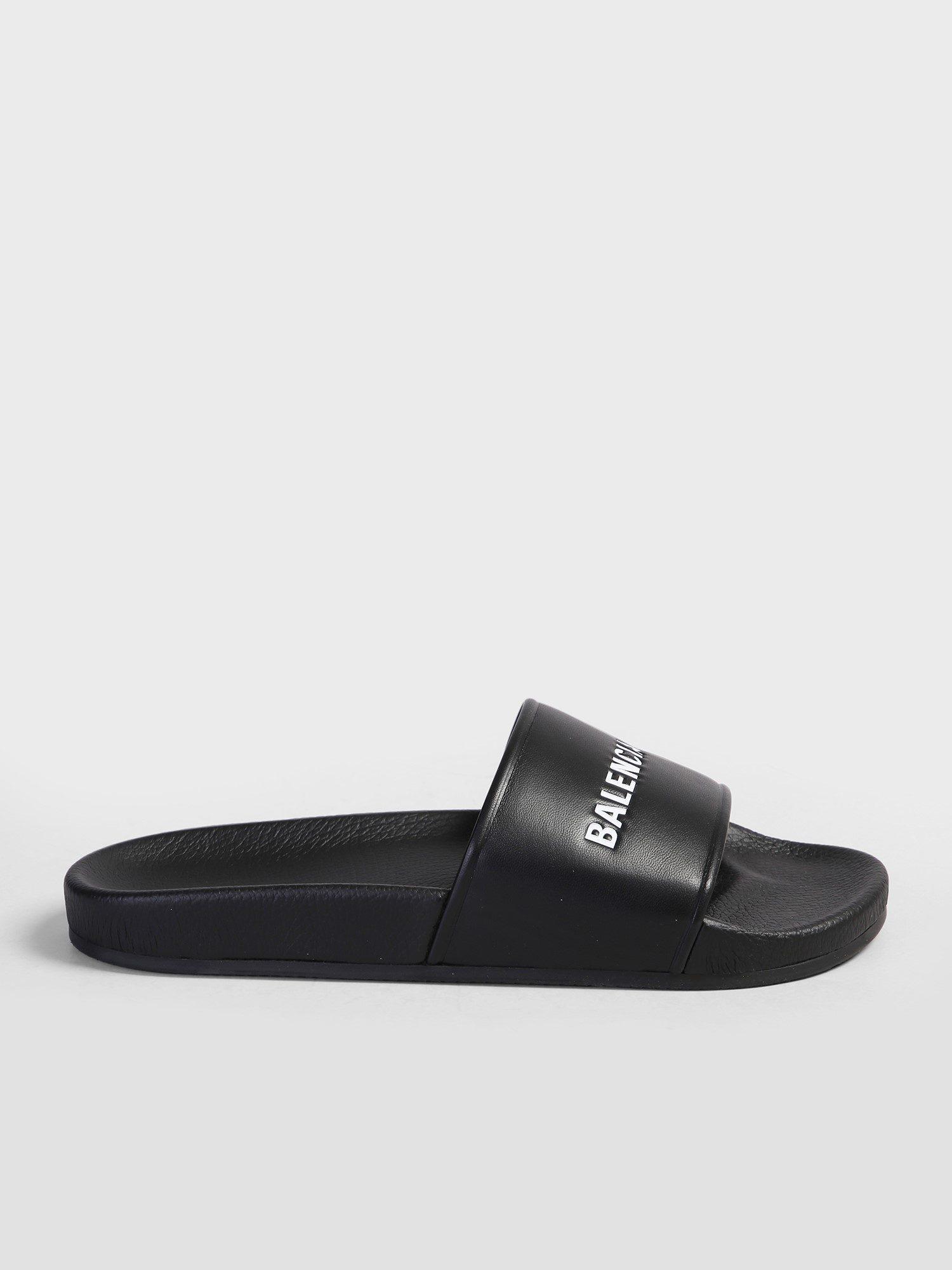 cf48d63ec5647 Balenciaga Logo Print Slide Sandals in Black for Men - Lyst