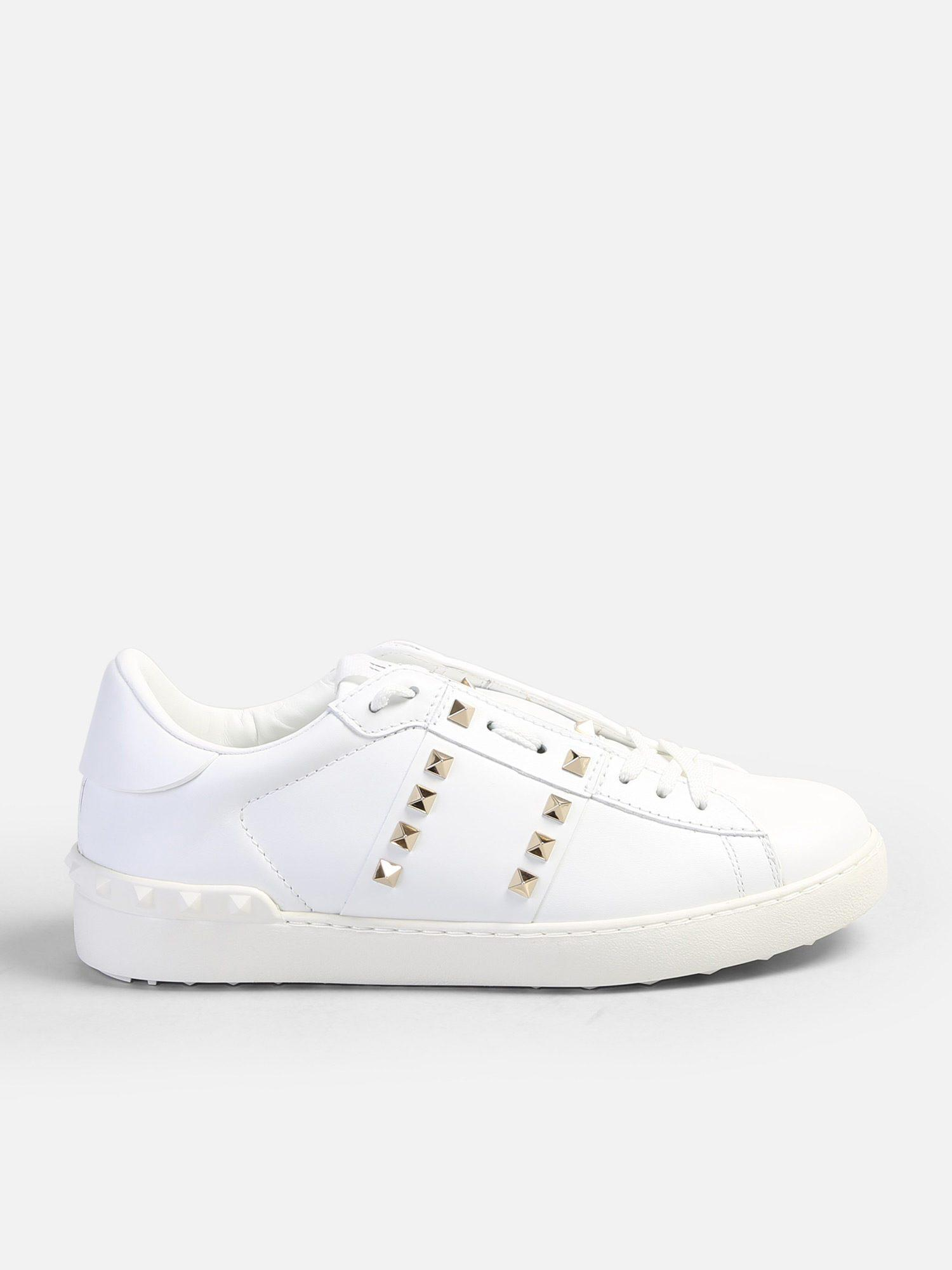 bafc3868f75f Lyst - Valentino Rockstud Leather Sneakers in White for Men