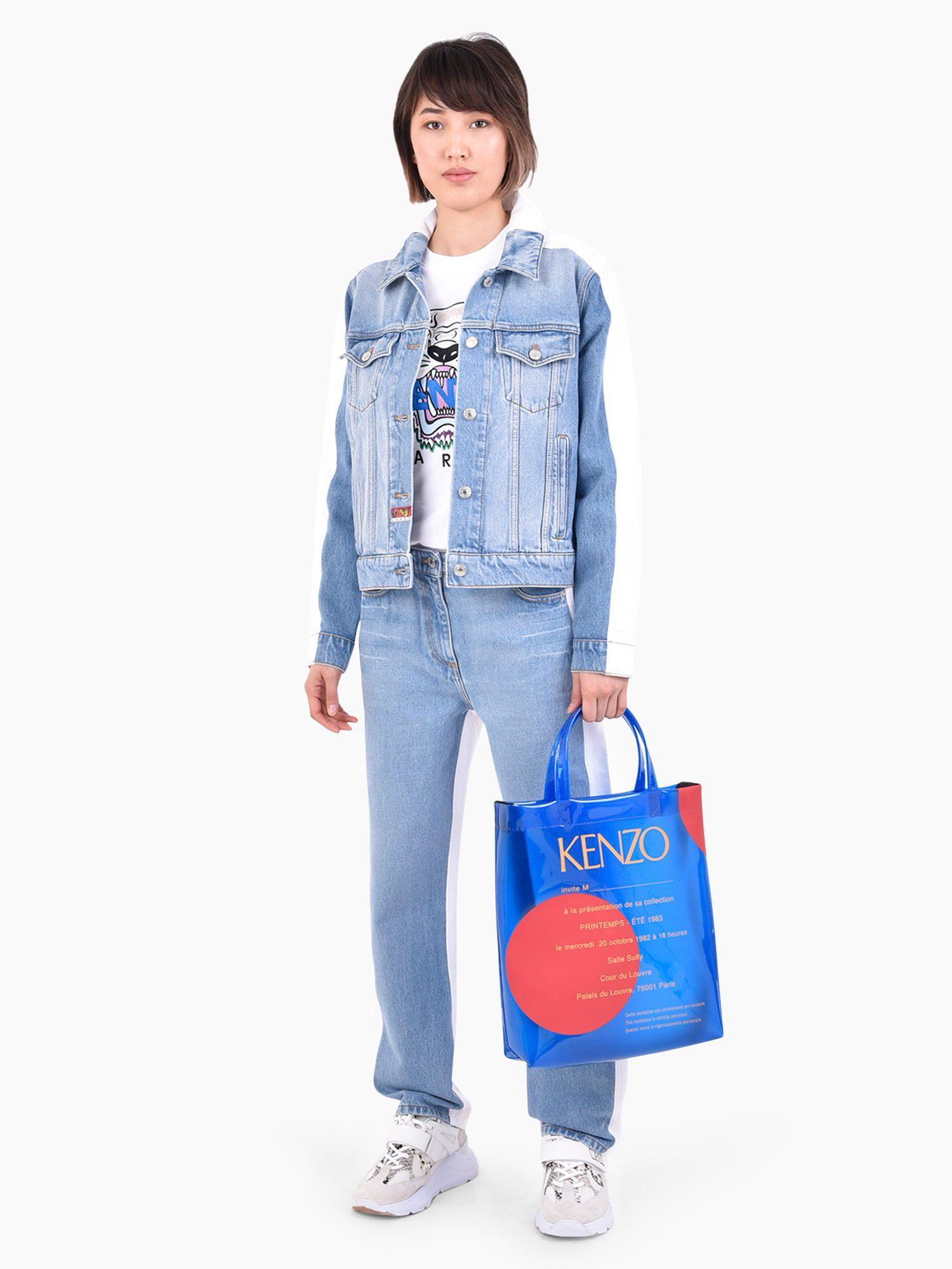 10b5b1a4 Lyst - KENZO Logo Patch Denim Jeans in Blue