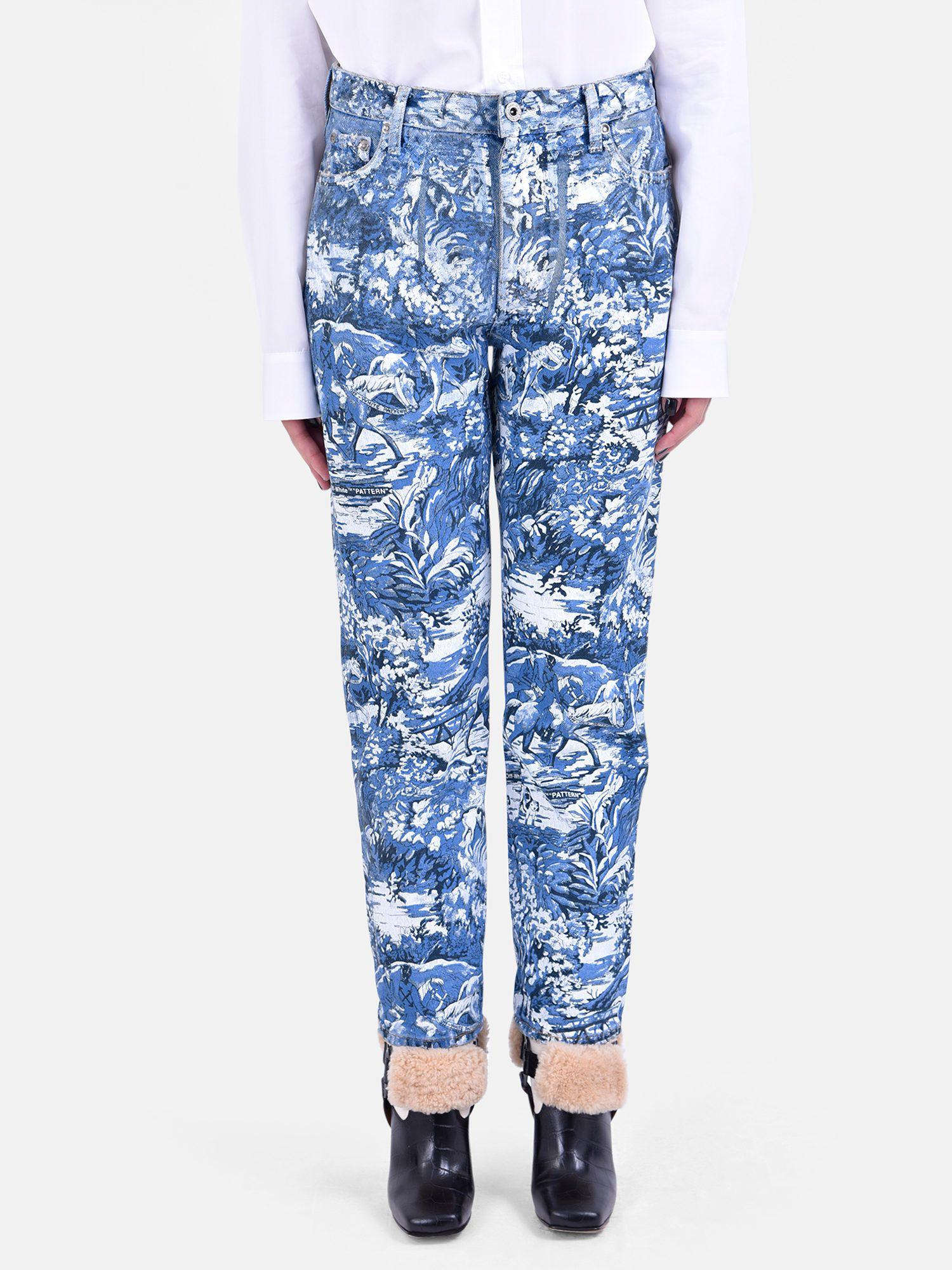 72c6c47833d8 Lyst - Off-White c o Virgil Abloh Printed Denim Jeans in Blue - Save 54%