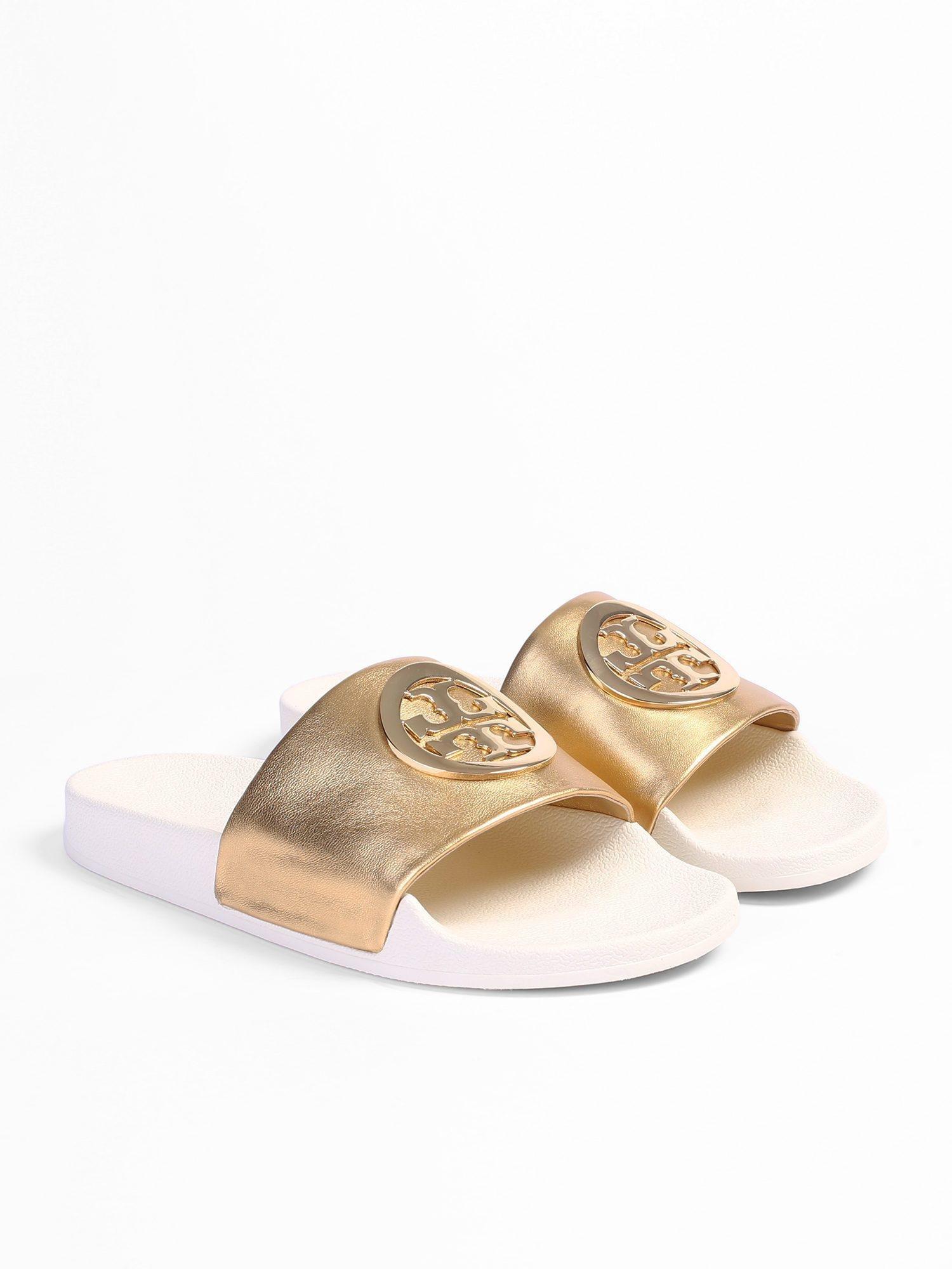 9bb1c57b280d Tory Burch - Lina Metallic Logo Slide Sandals - Lyst. View fullscreen