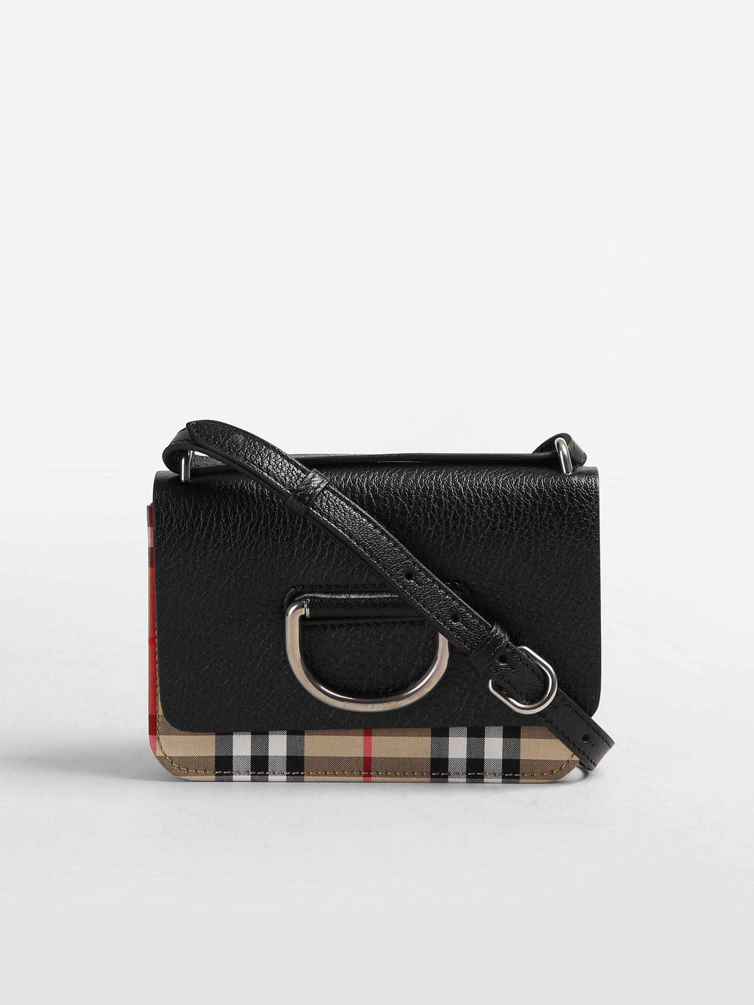 Burberry D-ring Mini Canvas And Leather Bag in Black - Lyst 93c64cf5af9ce