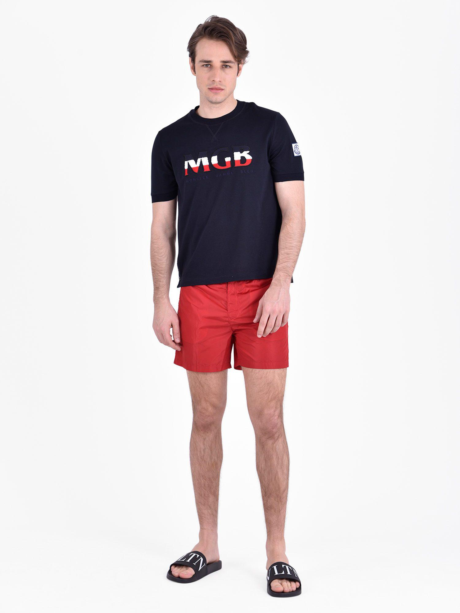 mens red moncler shorts