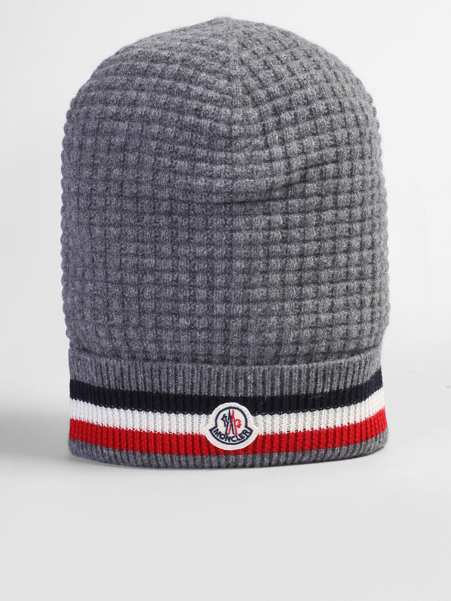 606a3e56f16 Lyst - Moncler Cashmere And Virgin Wool Beanie in Gray for Men