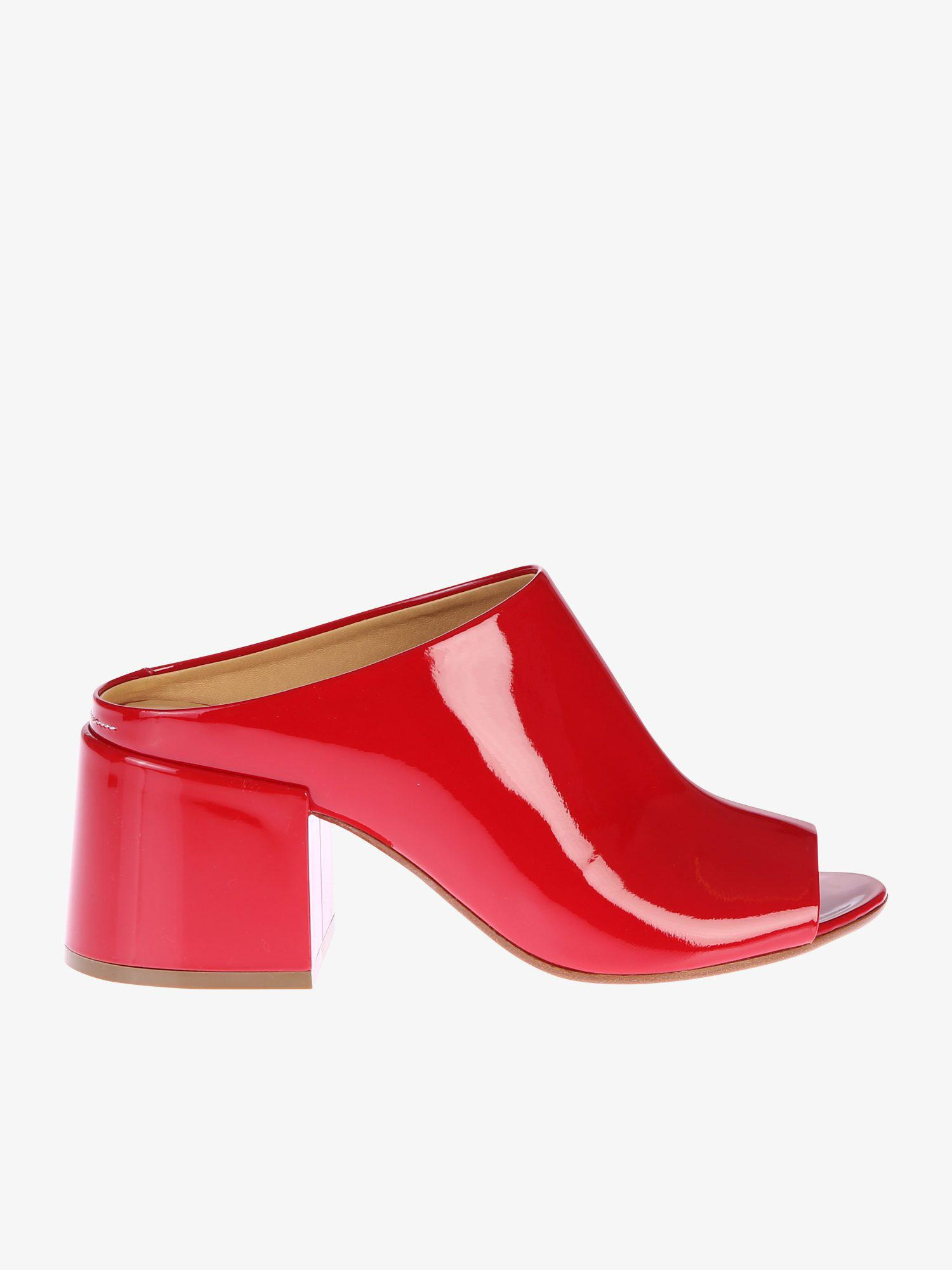 c709975b0288 Mm6 By Maison Martin Margiela Patent Mules in Red - Lyst