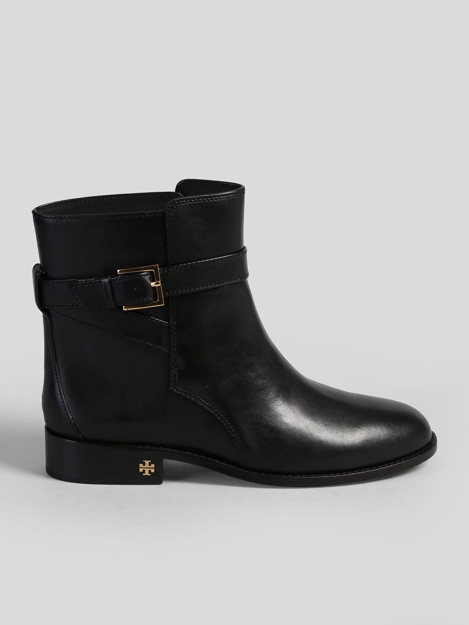 e6b708dc576 Lyst - Tory Burch Logo Detail Leather Ankle Boots in Black