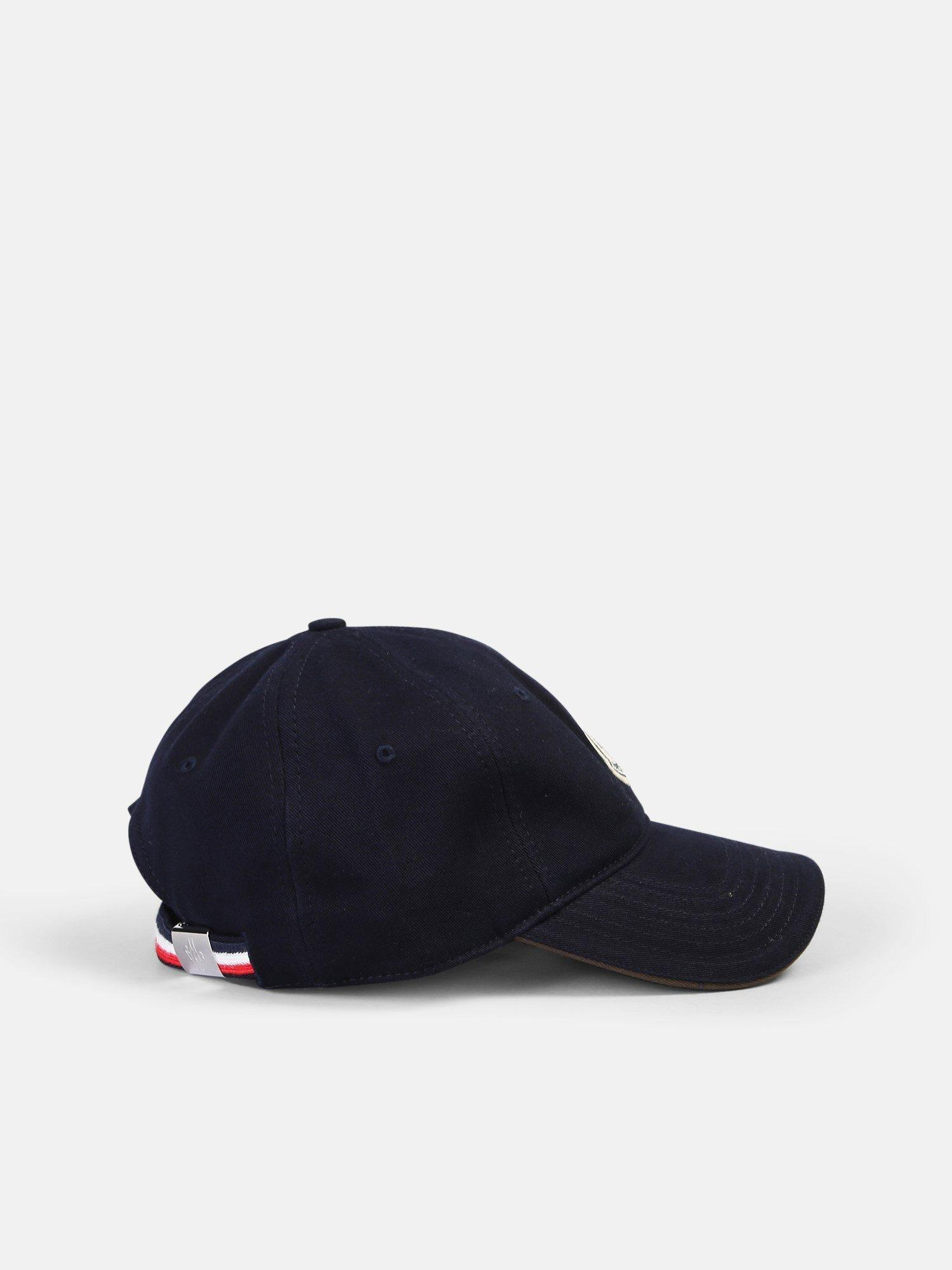 5186ef71ec3 Lyst - Moncler Logo Patch Cotton Hat in Blue for Men