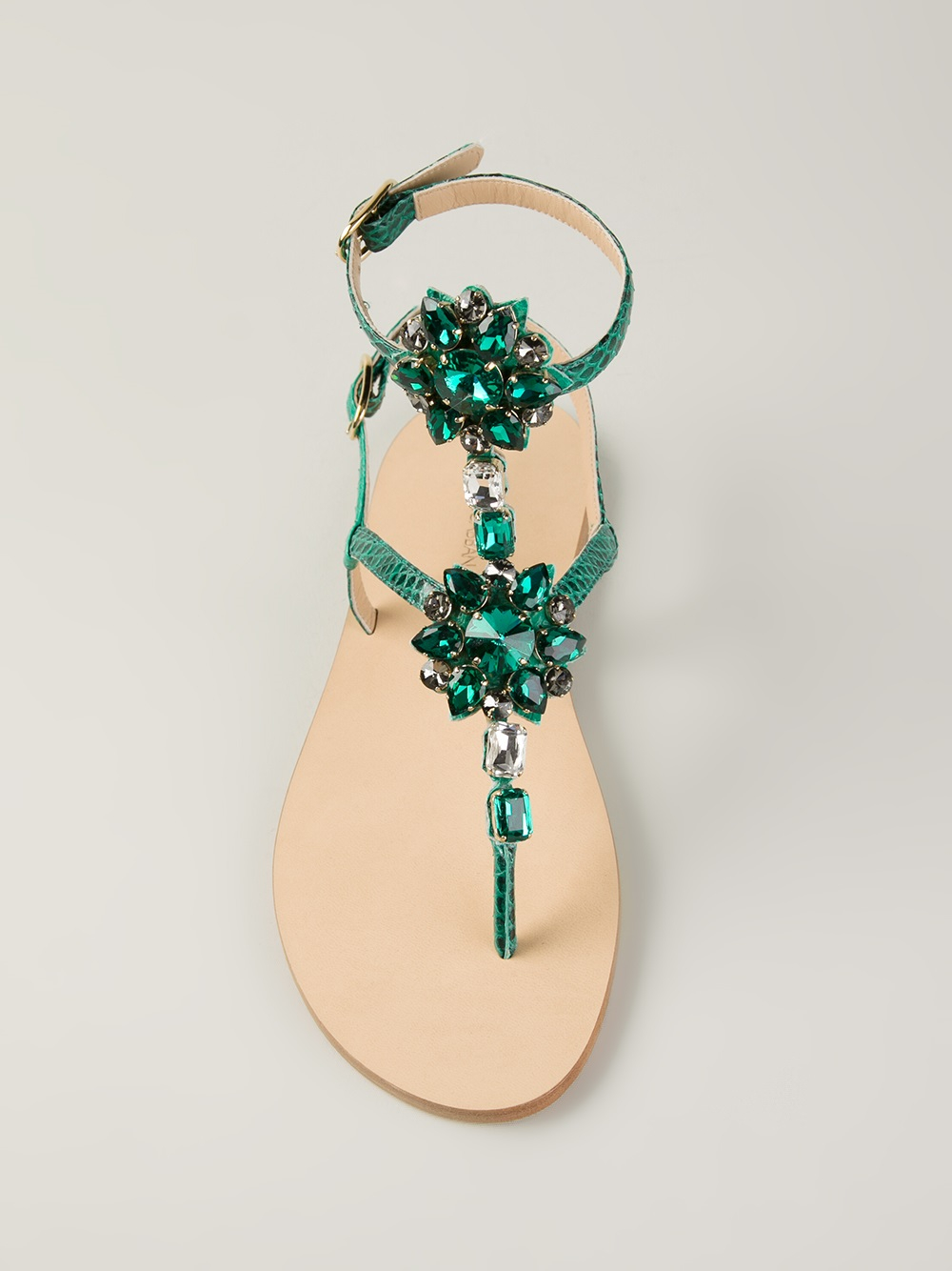 Lyst Dolce Amp Gabbana Flat Embellished Sandals In Green