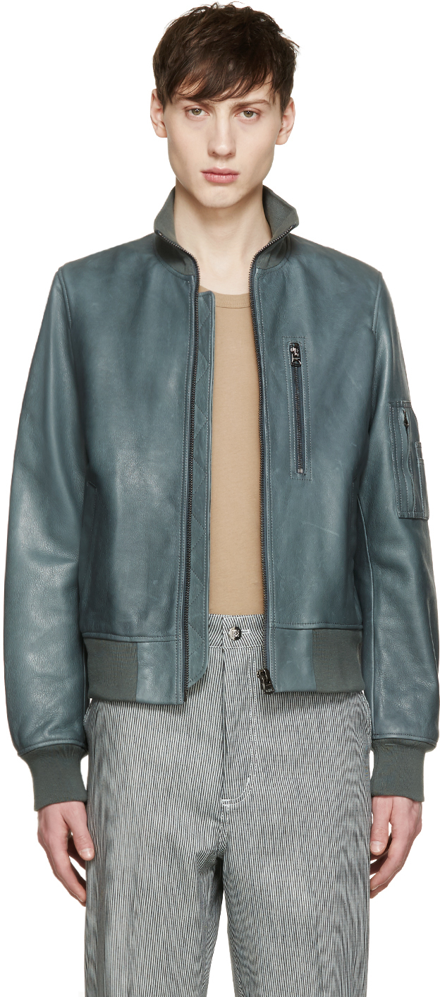 Acne Green Leather Adam Bomber Jacket in Green for Men | Lyst