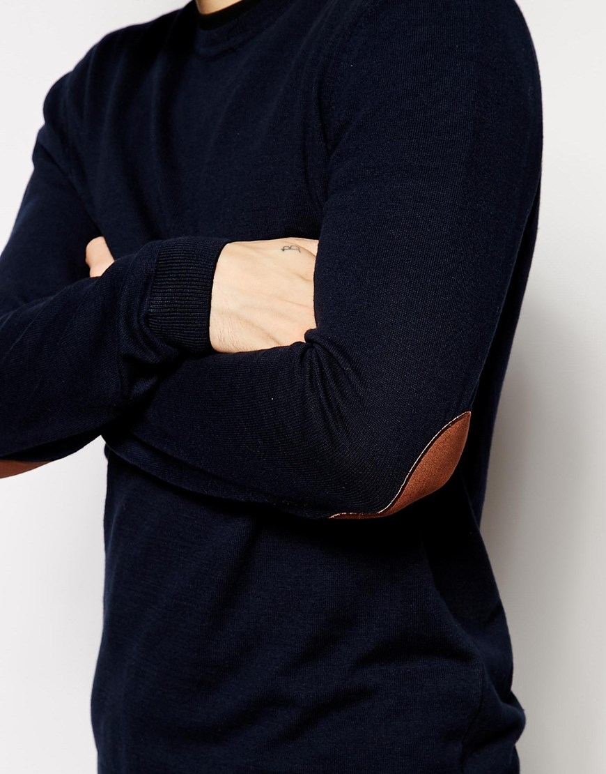 Aquascutum lance elbow patch jumper | navy | us stockists.