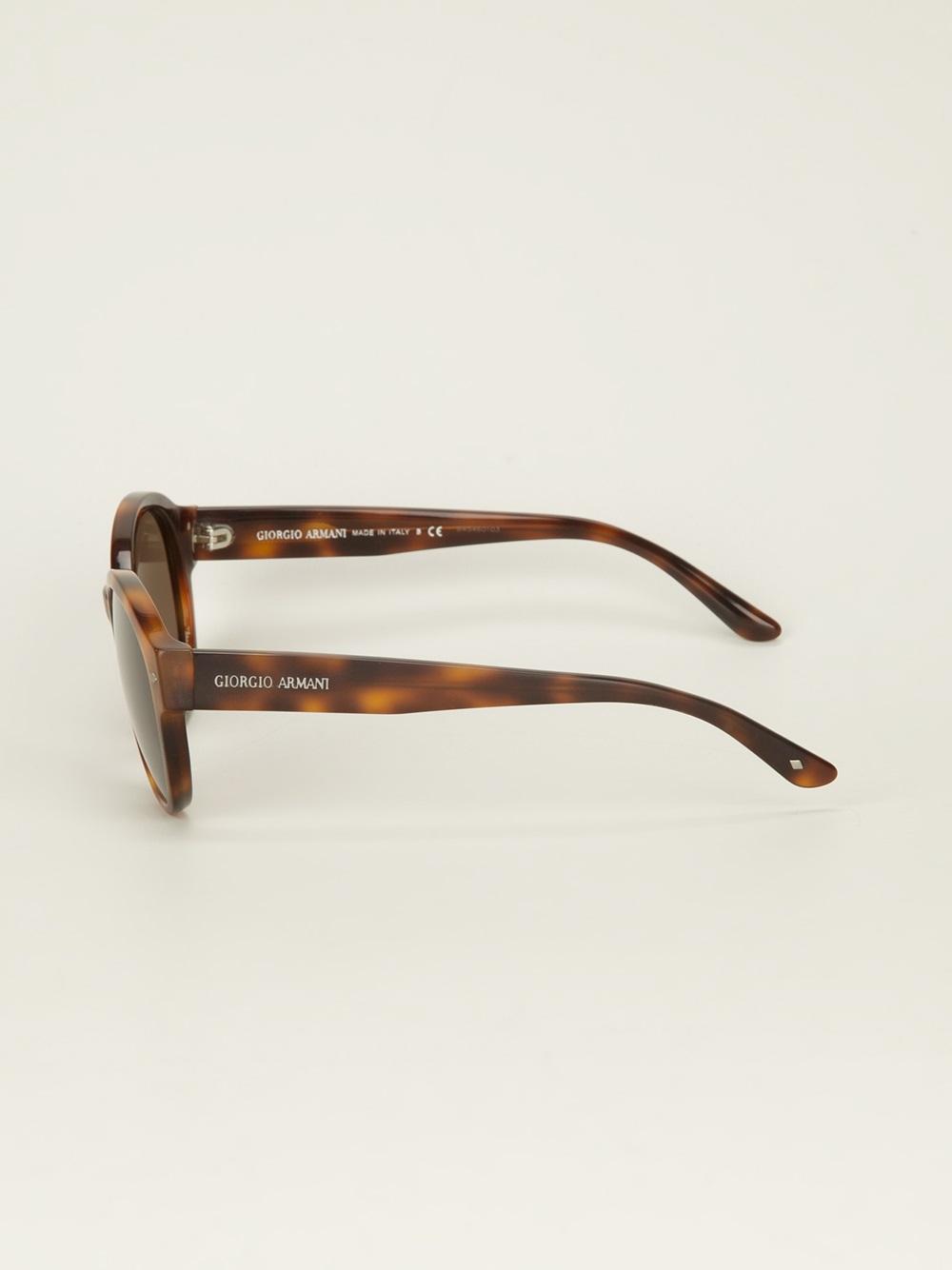 Giorgio Armani Glasses Frame Mens : Giorgio armani Oval Frame Sunglasses in Brown for Men Lyst