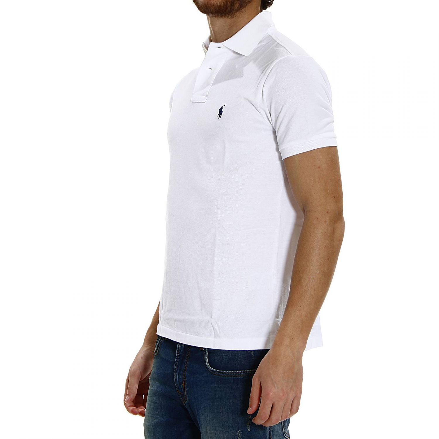 Polo ralph lauren short sleeve smocking slim fit polo t for Slim fit collared shirts