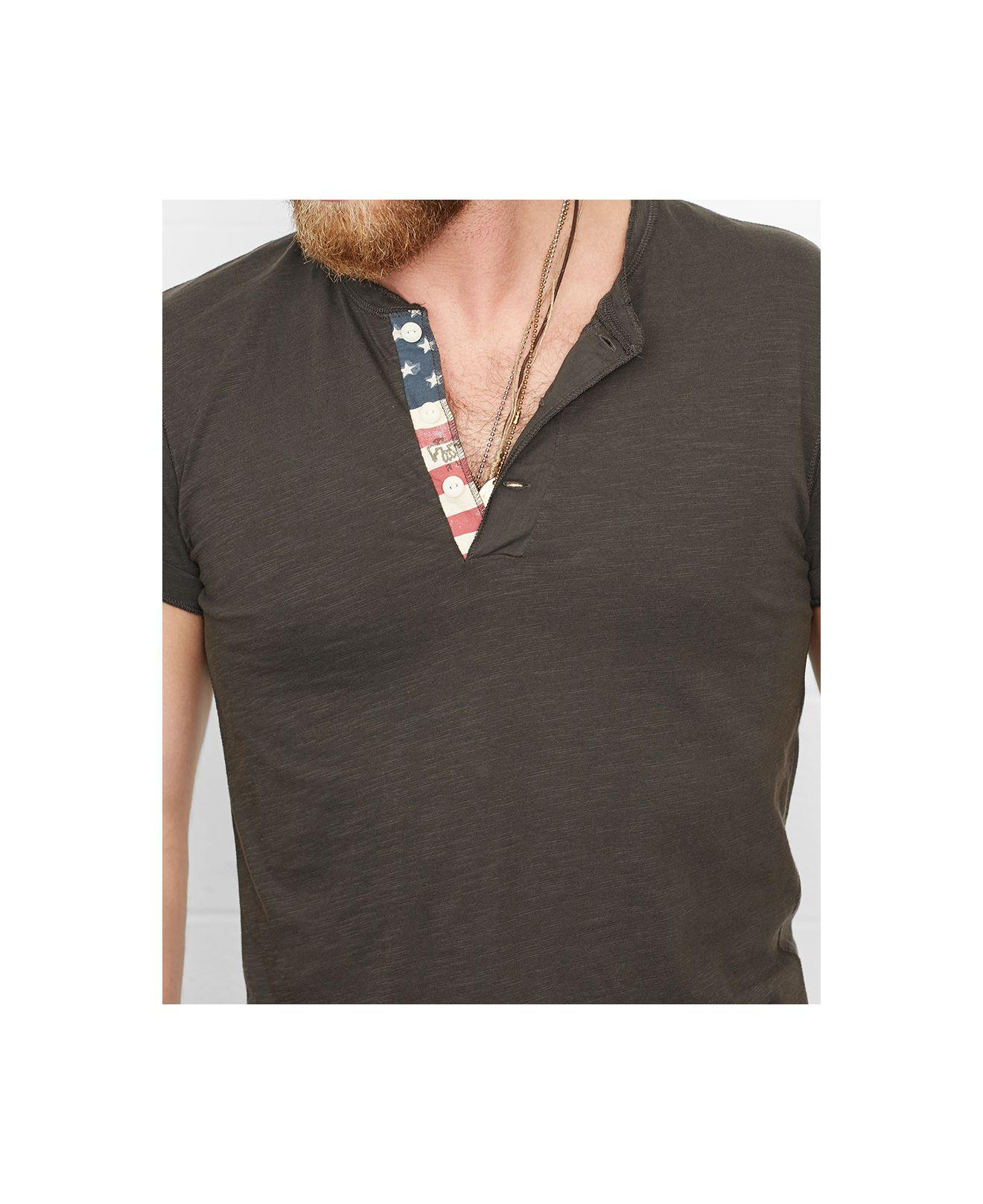182f52b65e Lyst - Denim   Supply Ralph Lauren Cotton Flag-patch Henley in Black ...