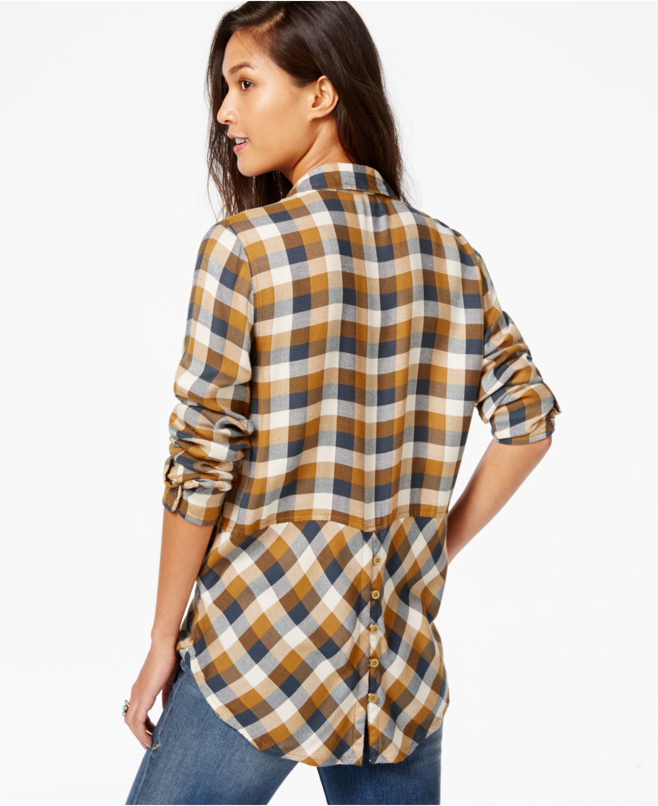 lyst lucky brand lucky brand long sleeve plaid shirt in. Black Bedroom Furniture Sets. Home Design Ideas