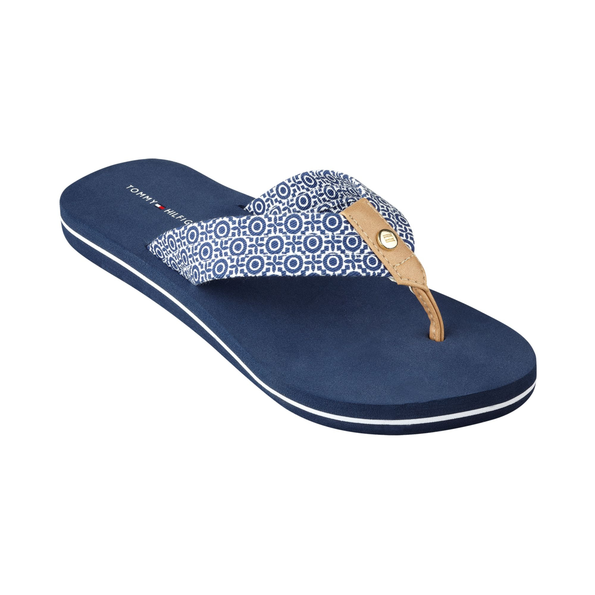 tommy hilfiger womens corrale flip flops in blue king. Black Bedroom Furniture Sets. Home Design Ideas