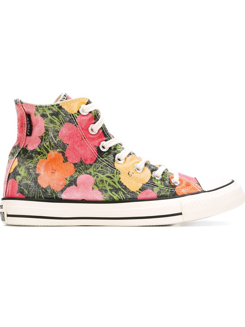 Converse Floral Print High Top Sneakers Lyst