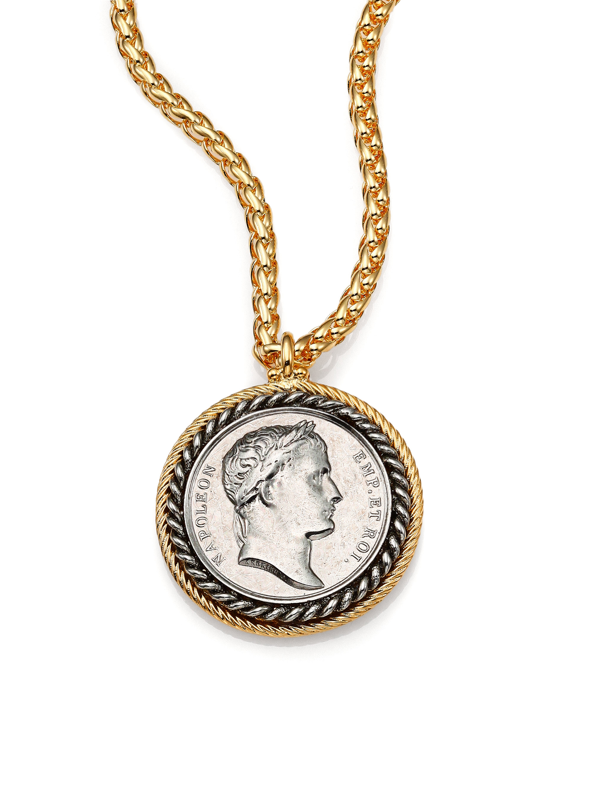 kenneth framed coin pendant necklace in