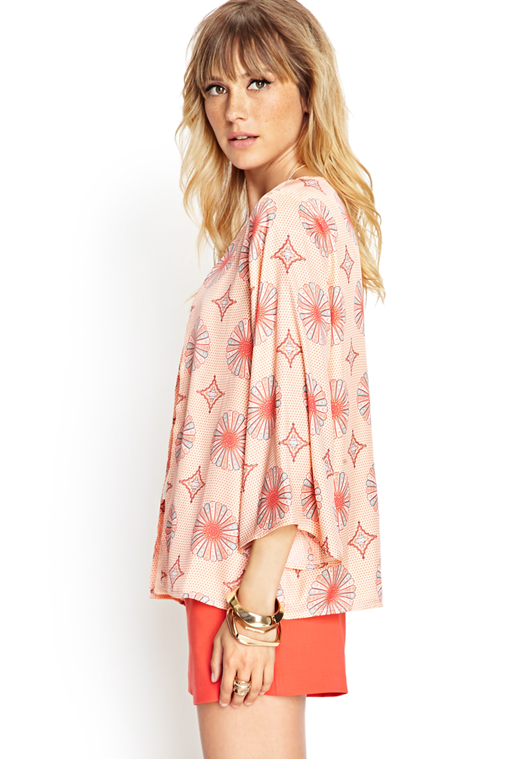 Forever 21 Contemporary Medallion Kimono Cardigan in Pink ...